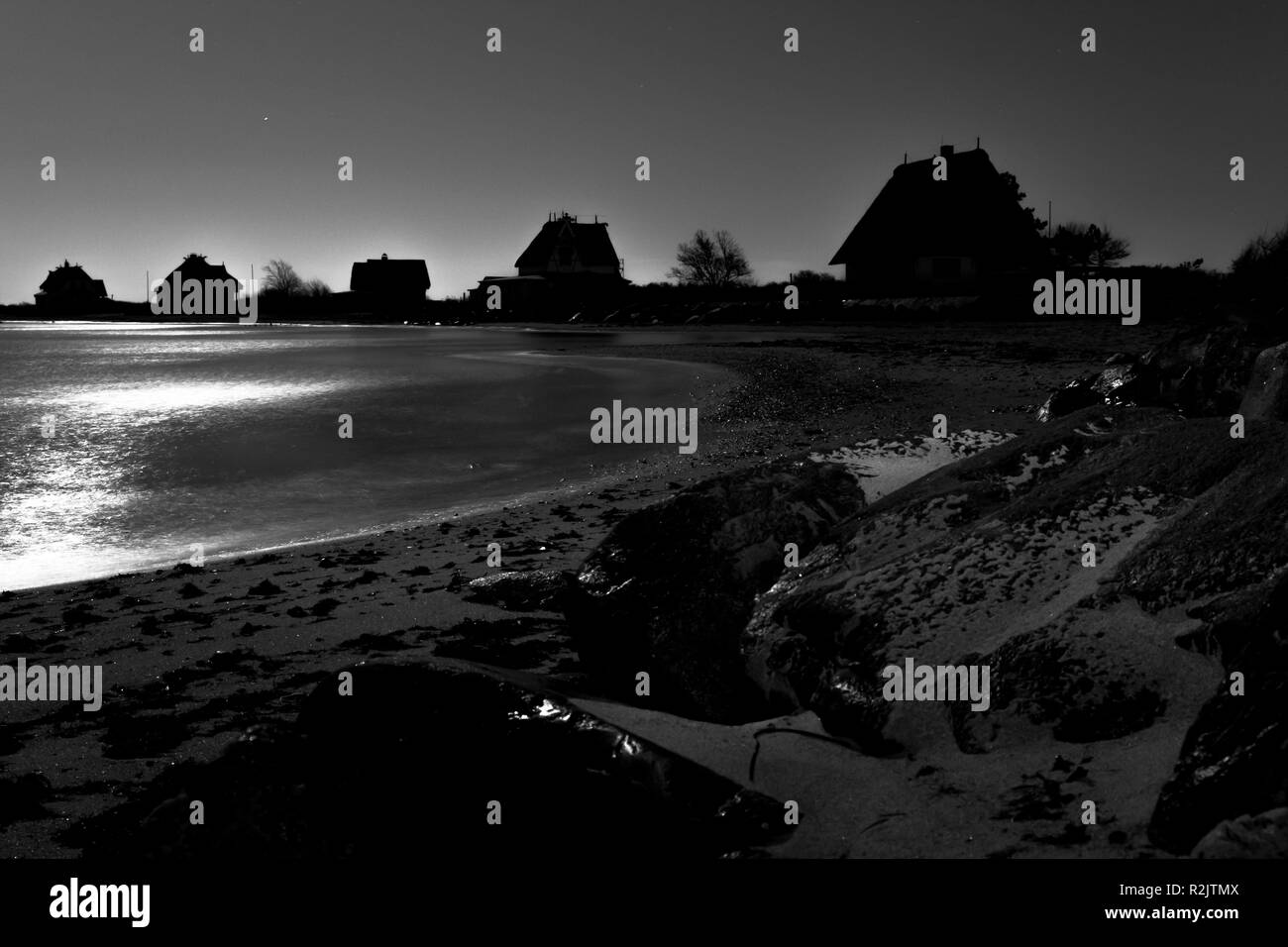 Full moon night over Graswarder, Heiligenhafen - Stock Image