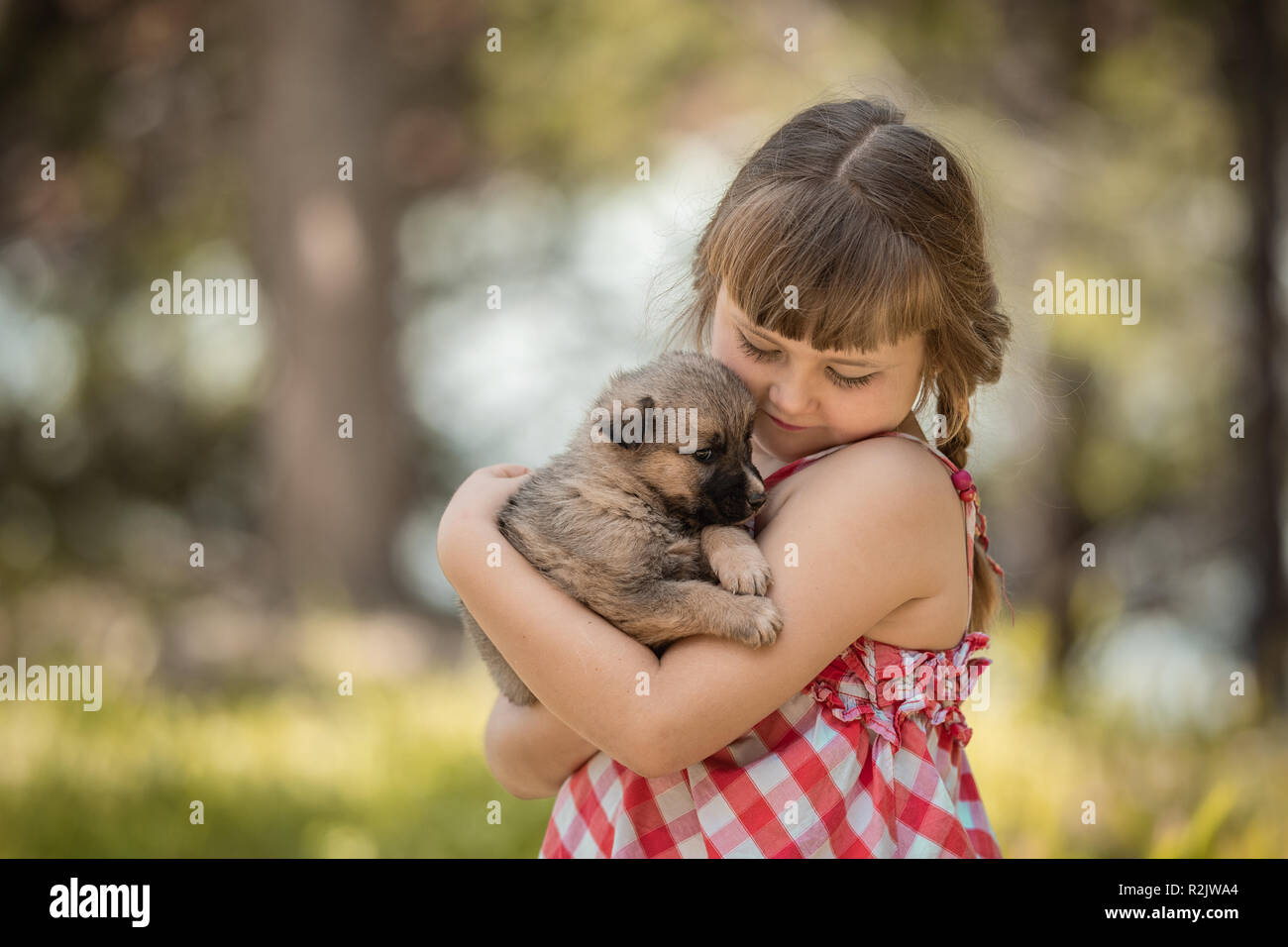 Cute little girl with a little puppy. - Stock Image