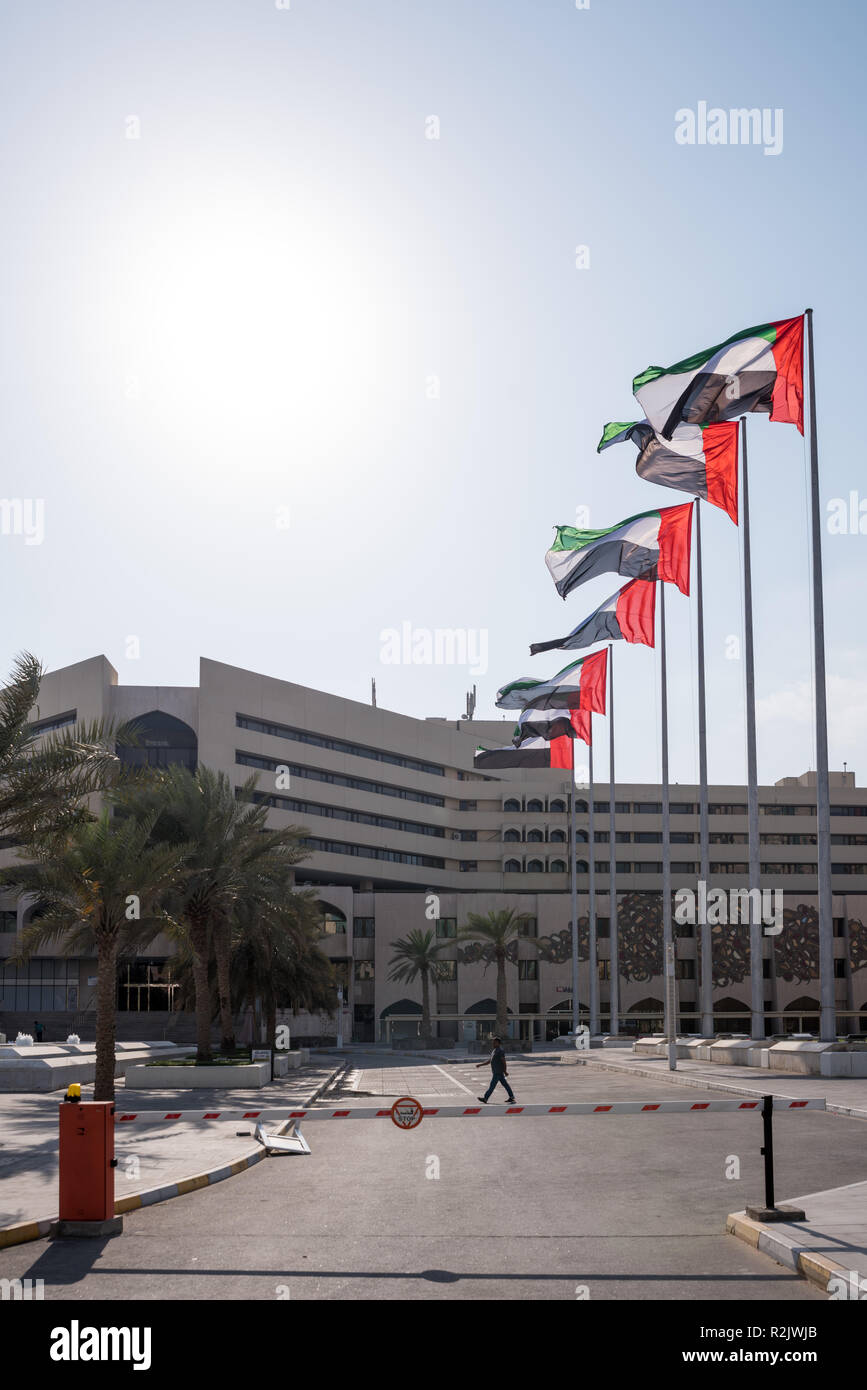 UAE Flag in a row at the front of Abu Dhabi Municipality Stock Photo
