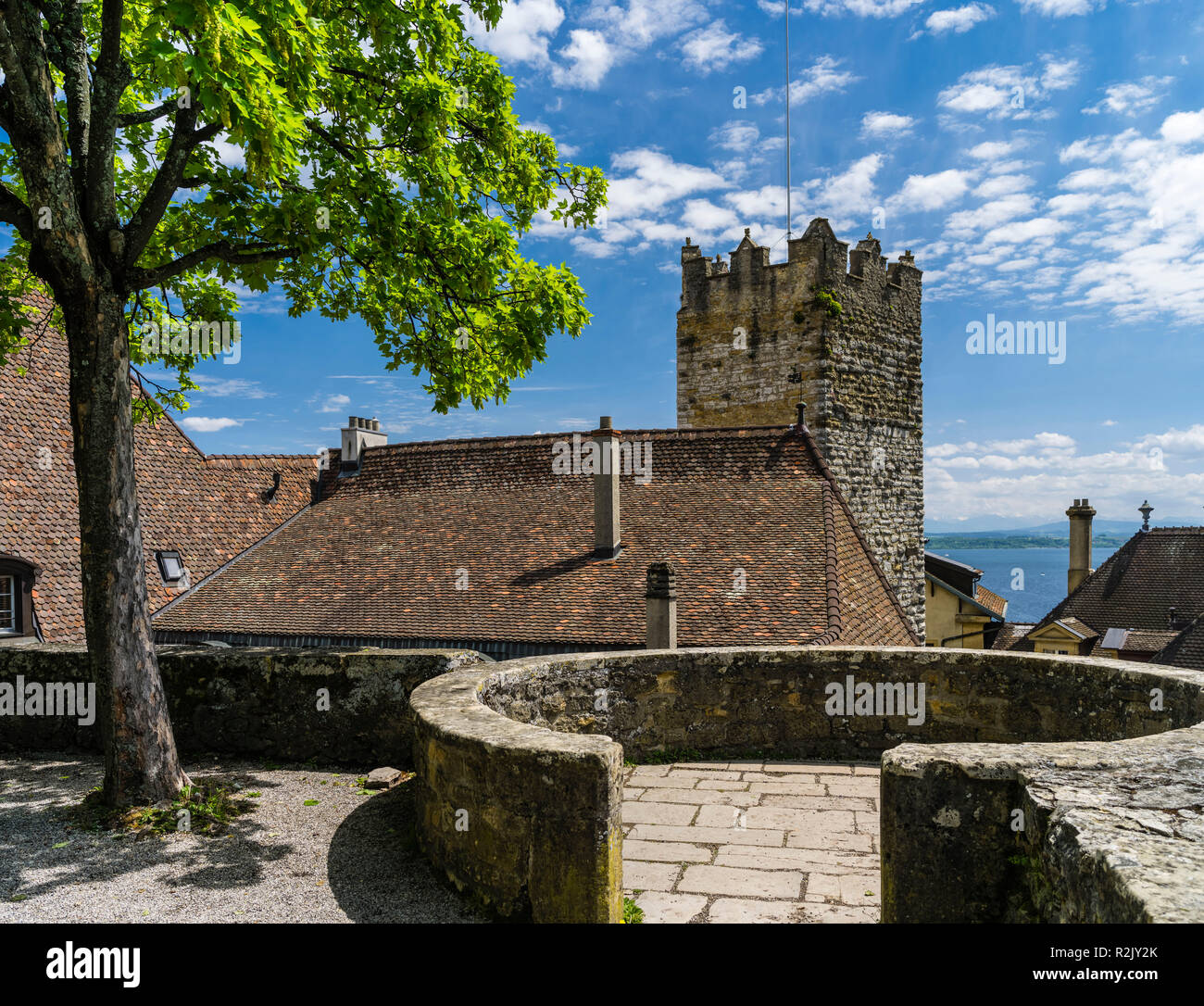 Fortified Wall Castle Neuchâtel - Stock Image