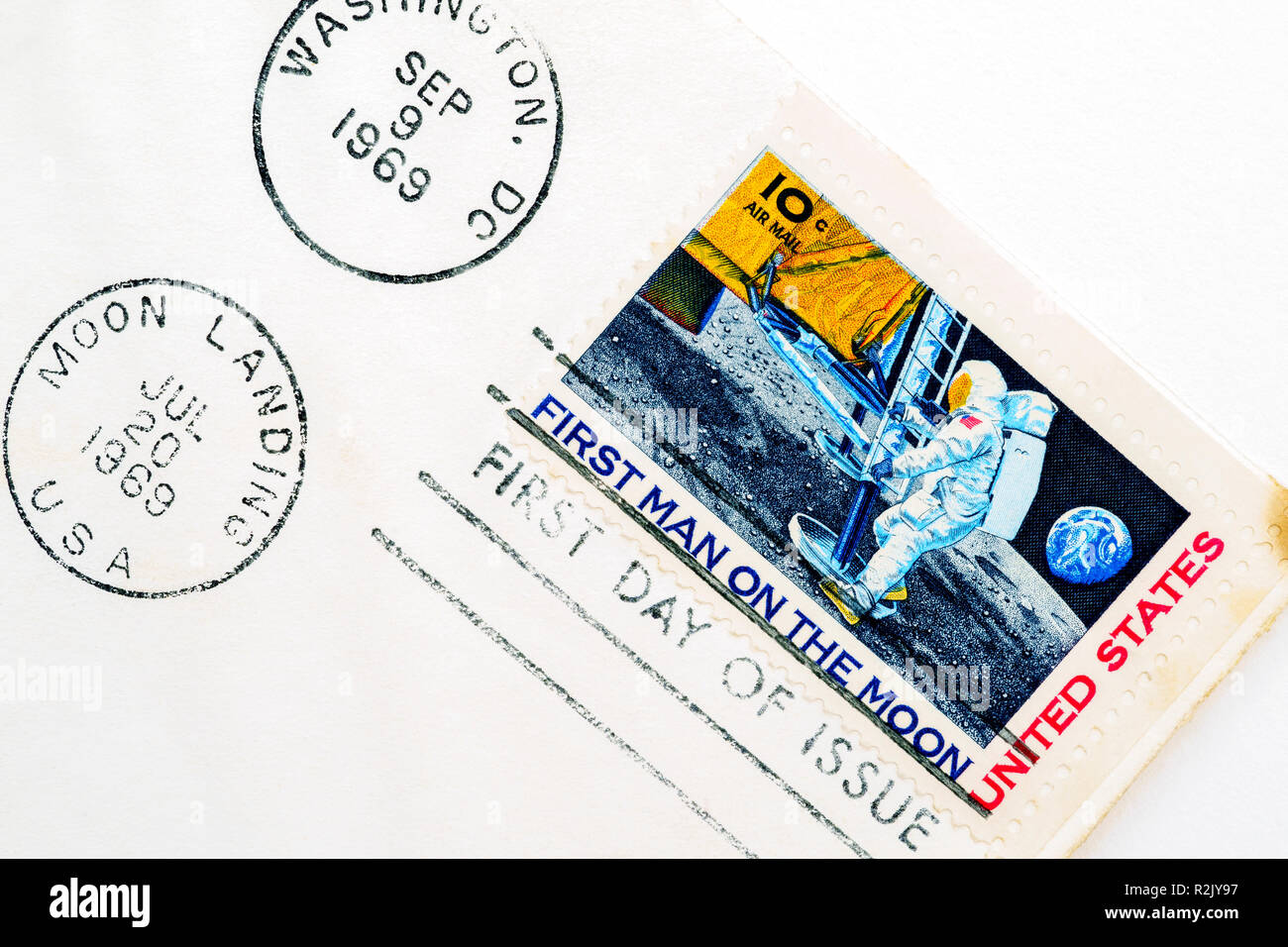 1969 first moon landing commemorative stamp on first day of tissue envelope Stock Photo