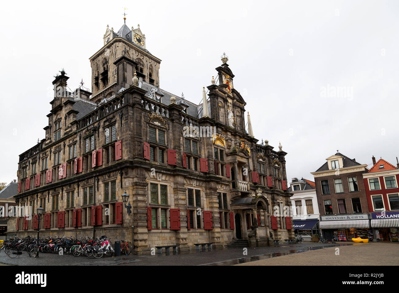The City Hall (Stadhuis) in Delft, the Netherlands. The building is an example of Dutch Renaissance style architecture. - Stock Image