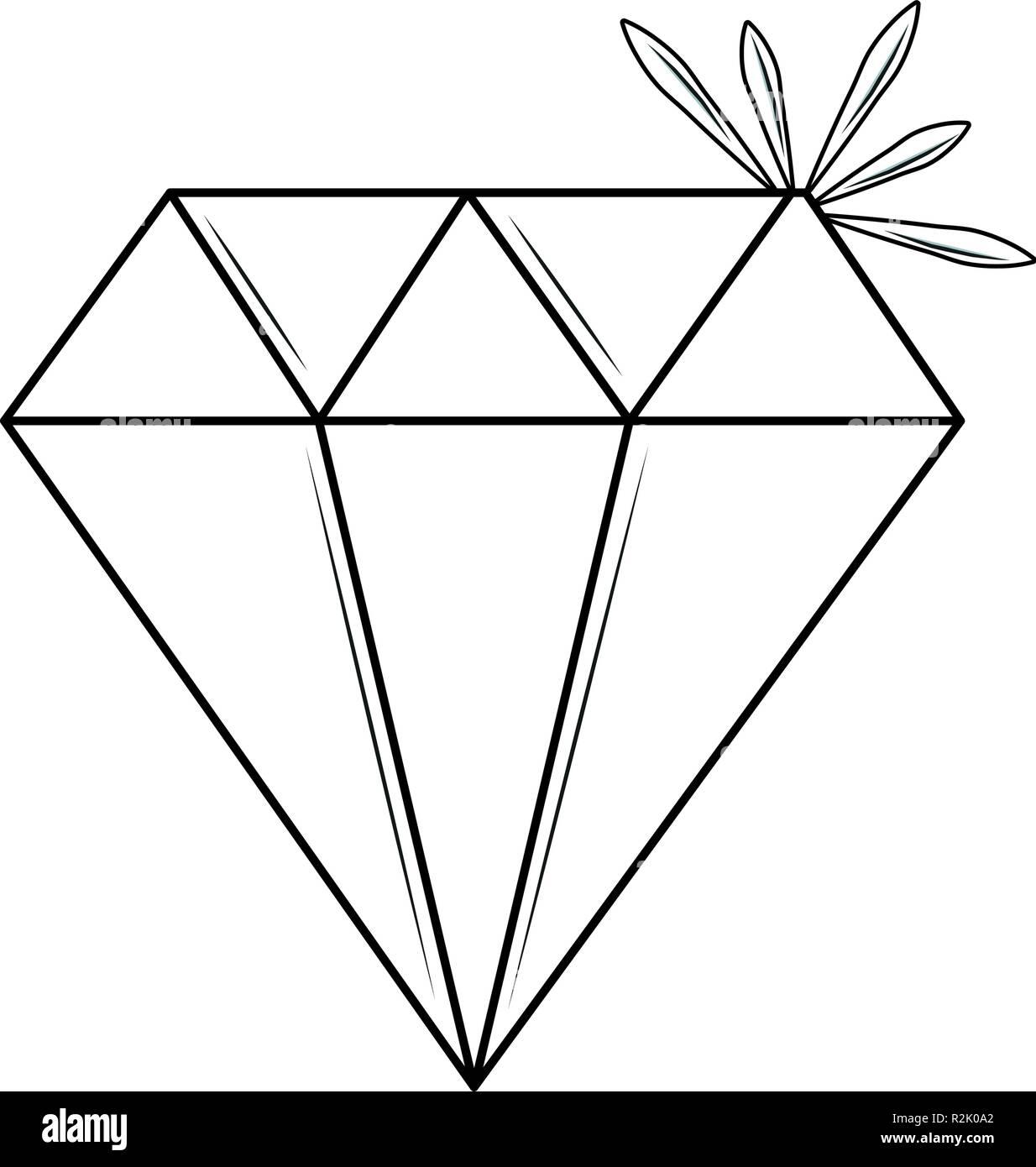 Luxury diamond stone cartoon black and white vector illustration graphic design - Stock Image