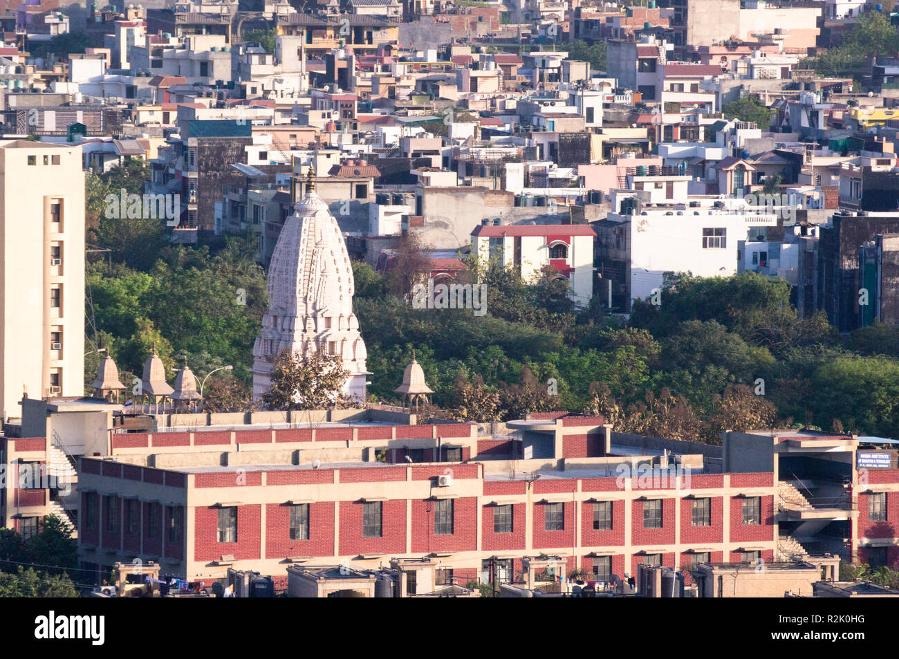 Temple in the middle of a locality aerial shot  - Stock Image