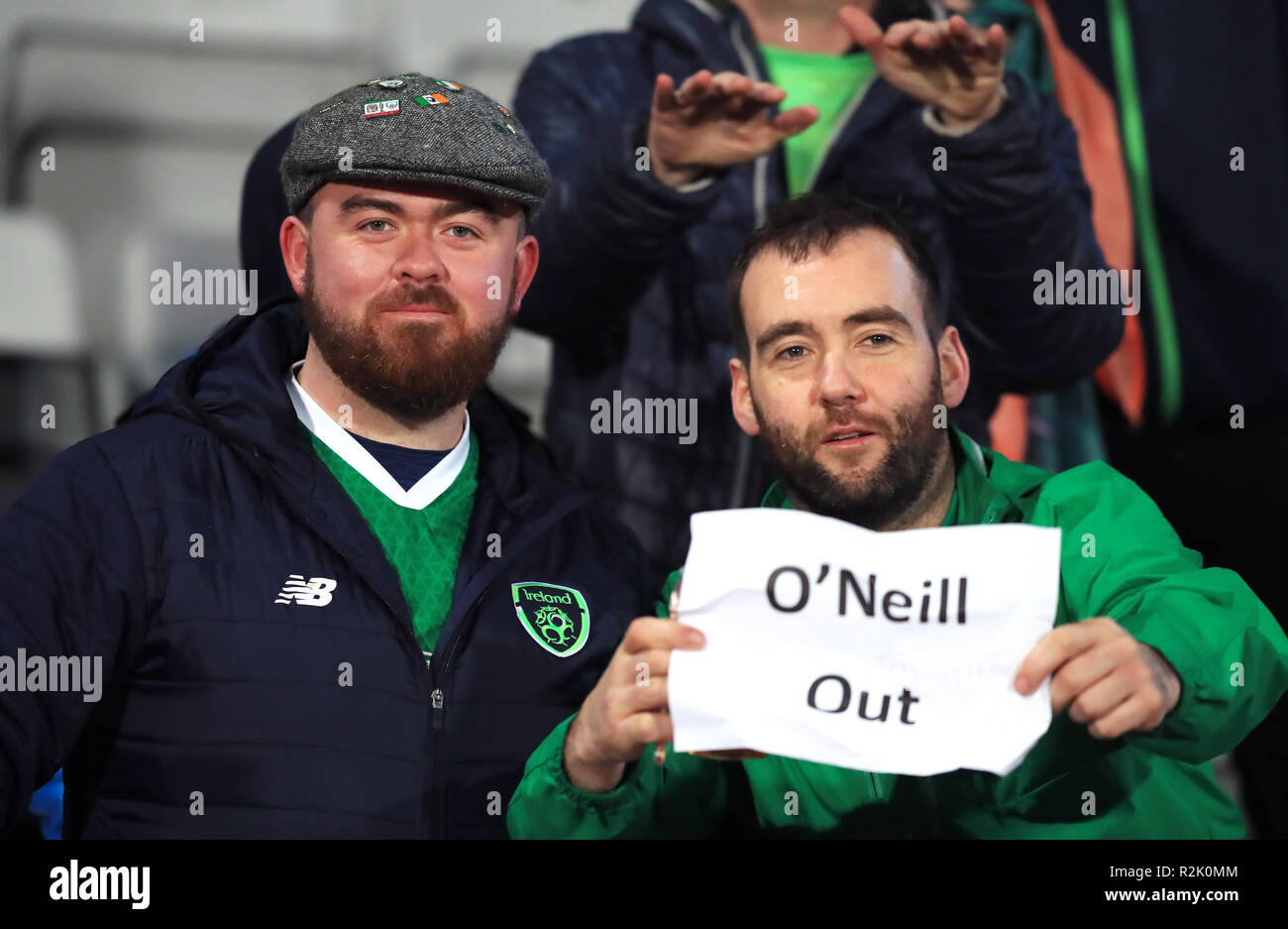 Republic Of Ireland Fans Hold Up A Banner Reading O Neill Out In Protest Against Manager Martin O Neill Before The Uefa Nations League Group B4 Match At Ceres Park Aarhus Stock Photo