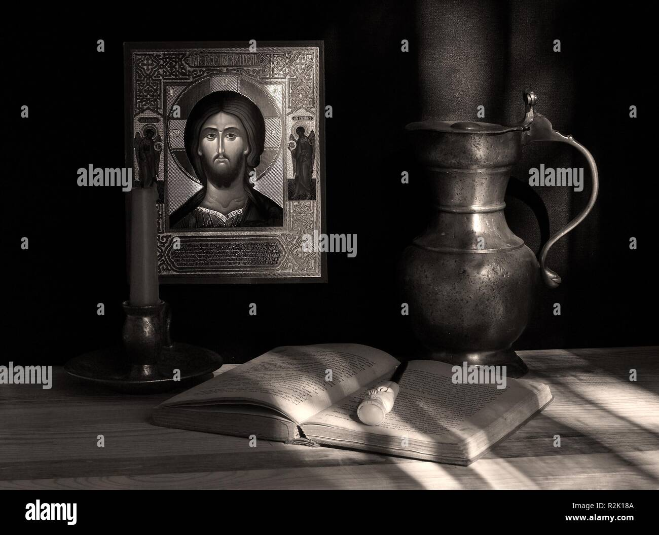 still life with icon. picture 2. sepia - Stock Image