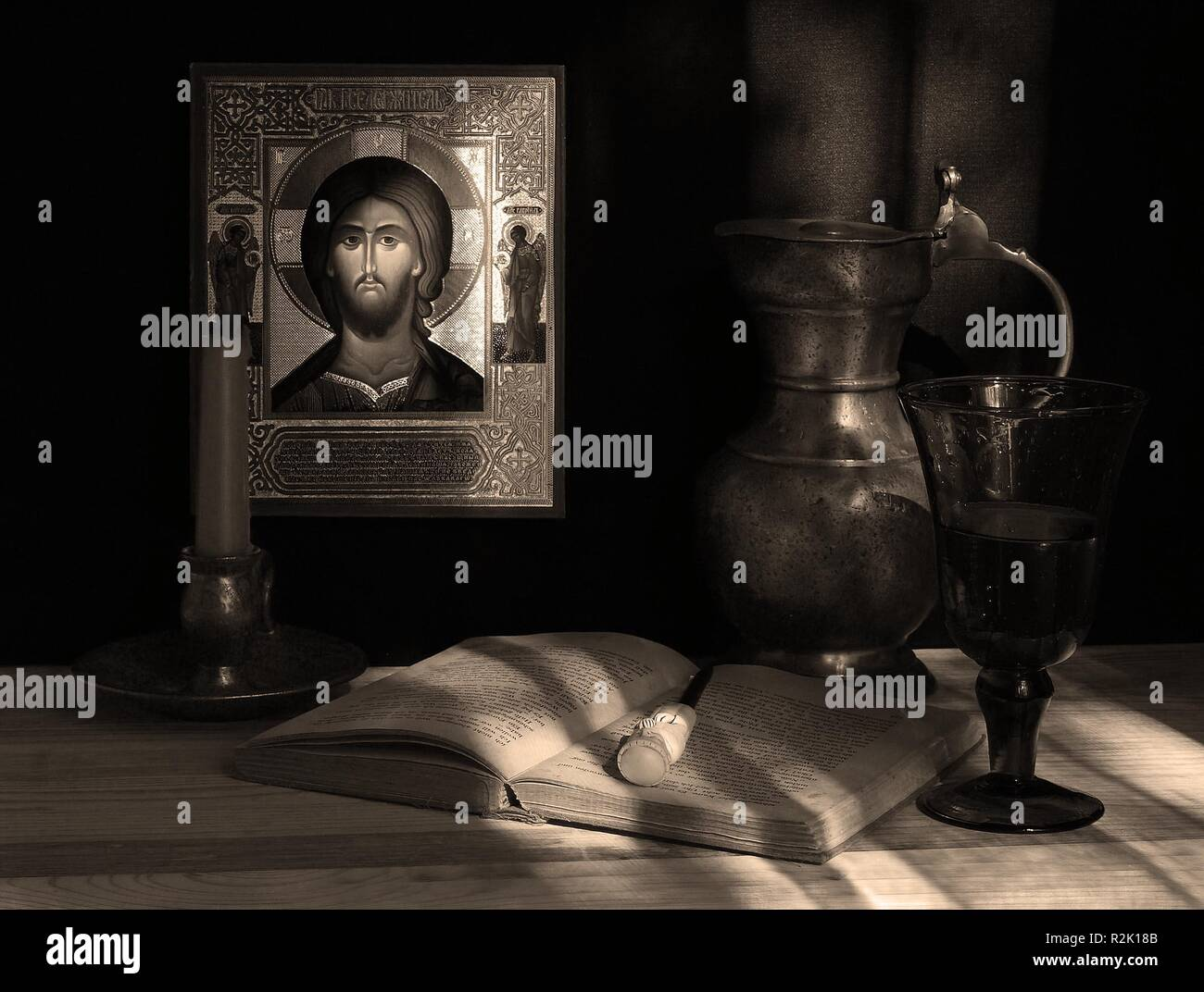 still life with icon. picture 1. sepia - Stock Image