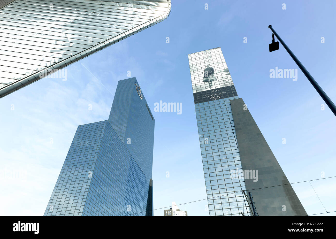 Insurance building 'Delftse Poort' for the National Nederlanden (Abe Bonnema, 1987-1992) near Central Station, with 150 meters for ten years the tallest building in Netherlands - Stock Image