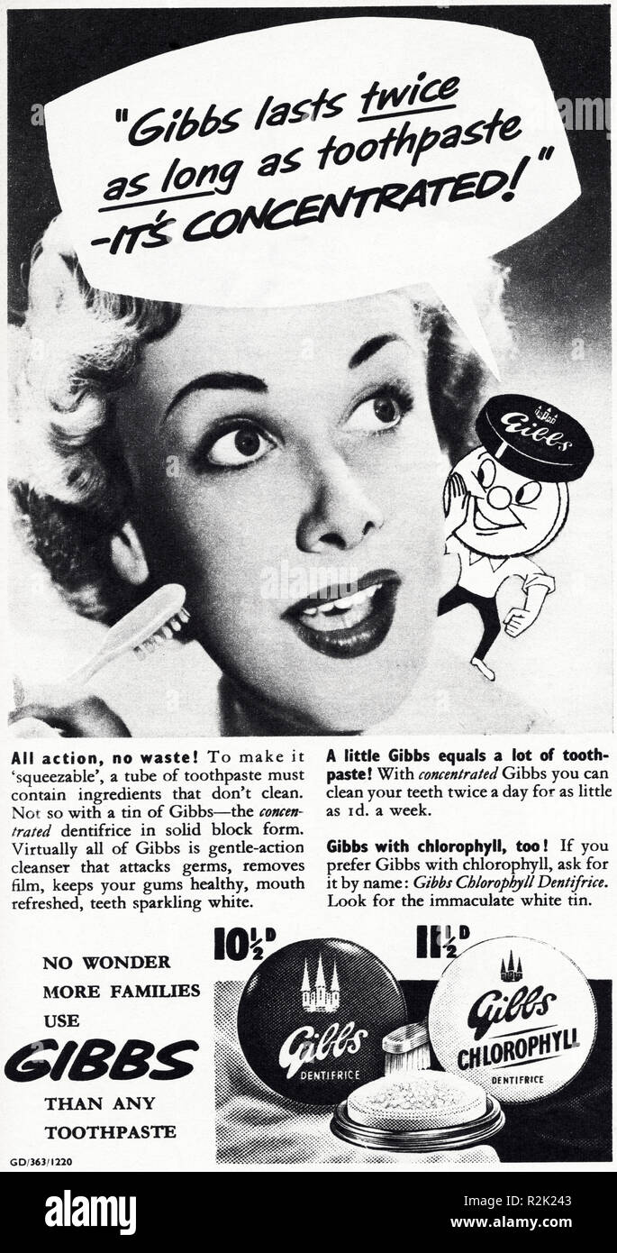 Original 1950s vintage old print advertisement from English magazine advertising Gibbs toothpaste circa 1954 - Stock Image