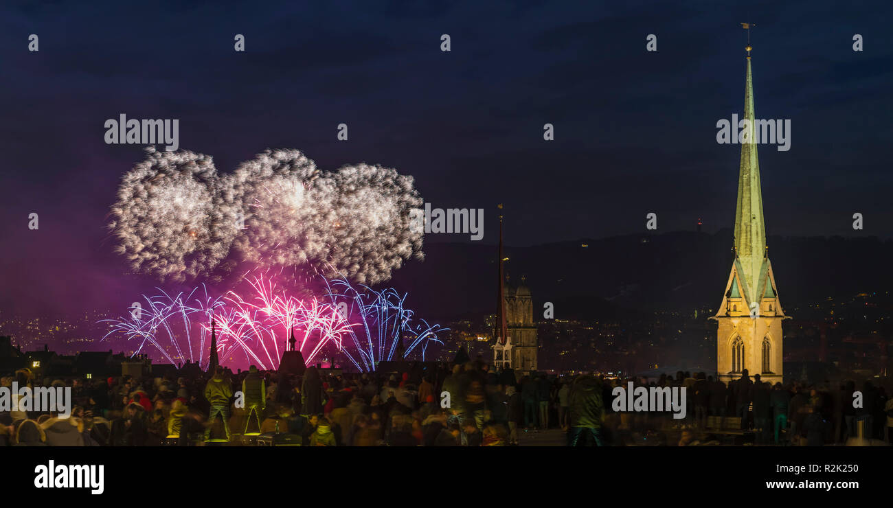 New Year's Eve fireworks in Zurich at the turn of 2017/2018 - Stock Image