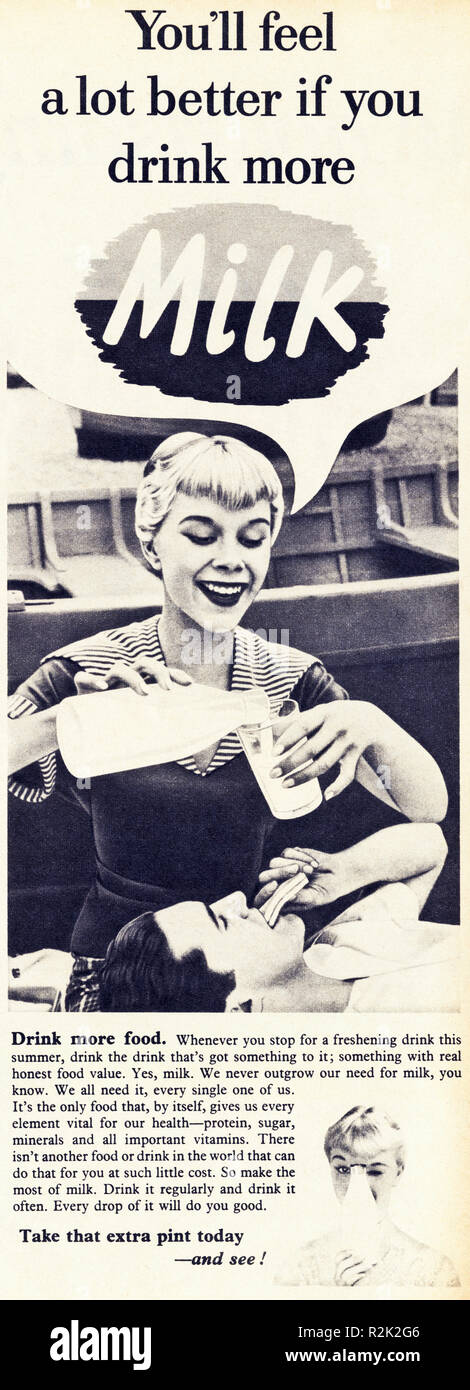Original 1950s vintage old print advertisement from English magazine advertising Drink More Milk circa 1954 - Stock Image