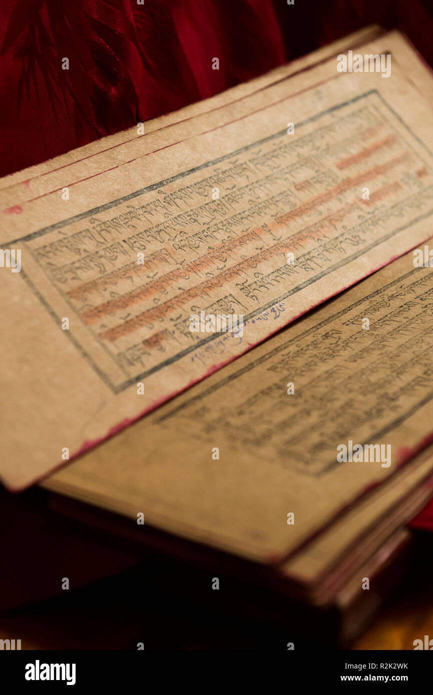 Writings / Mantras in the monastery Drigung Thel - Stock Image