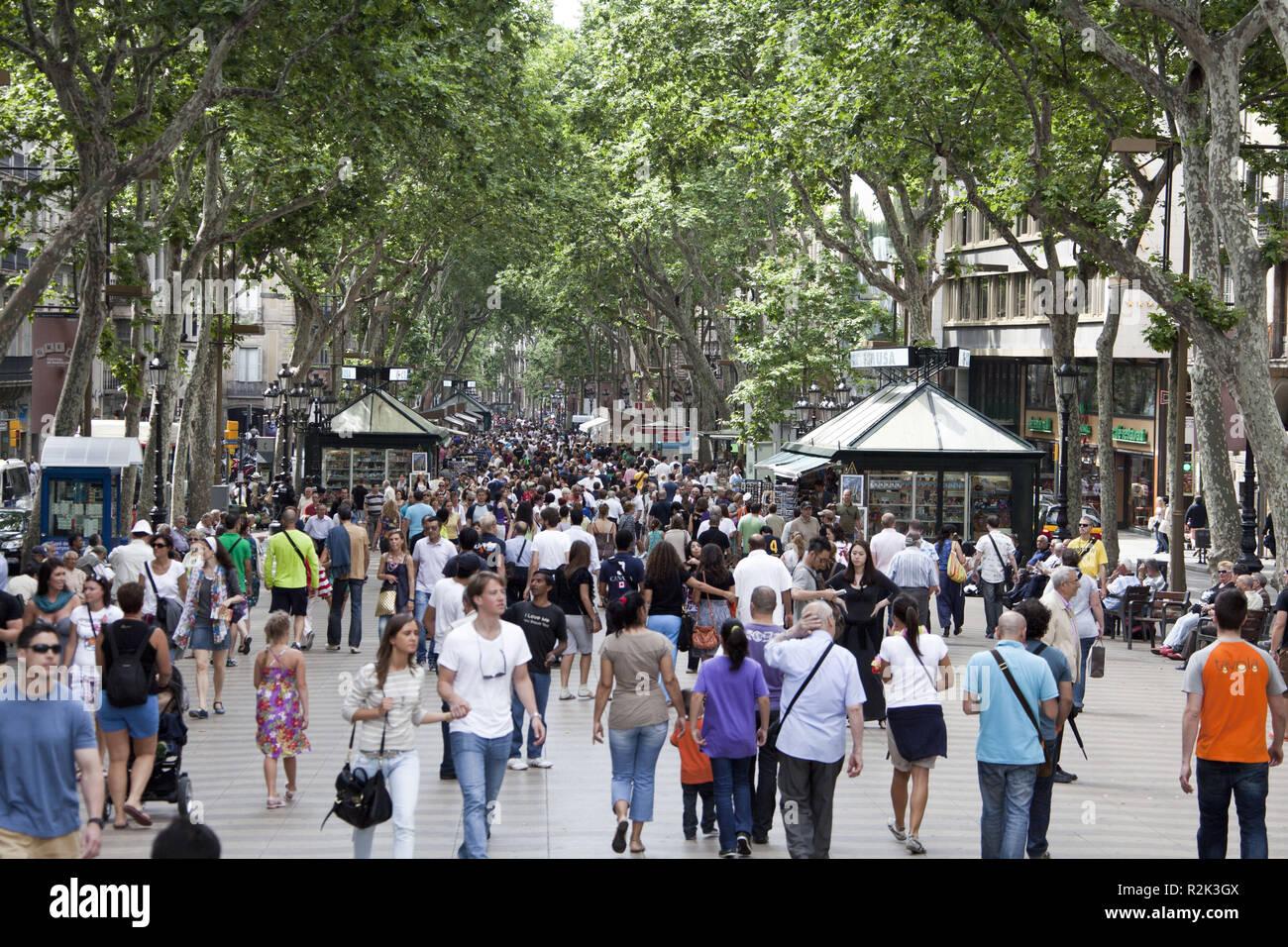 Spain, Barcelona, promenade 'La Rambla', Stock Photo