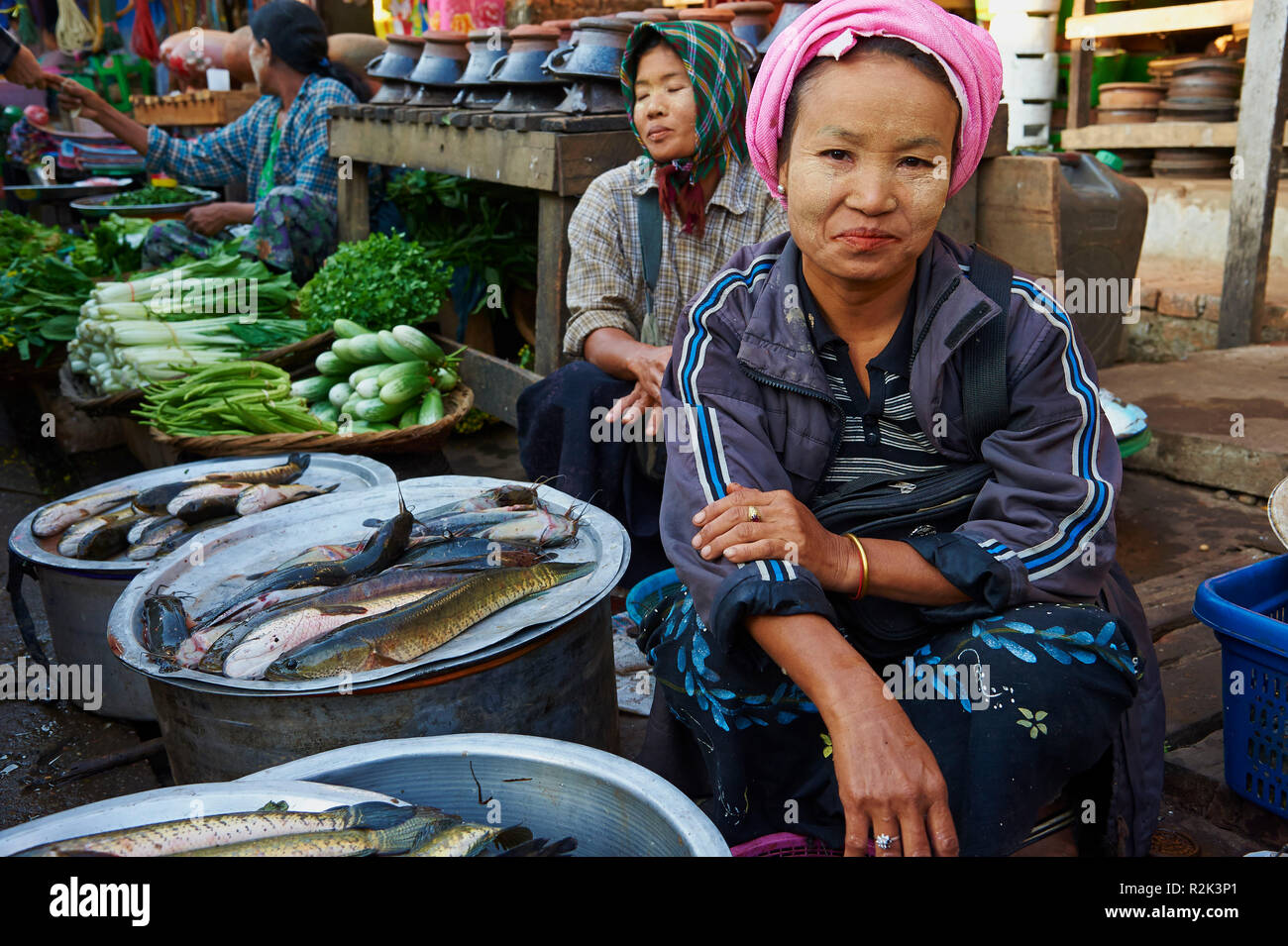 Market stall Hpa-an, Myanmar, Asia, Stock Photo