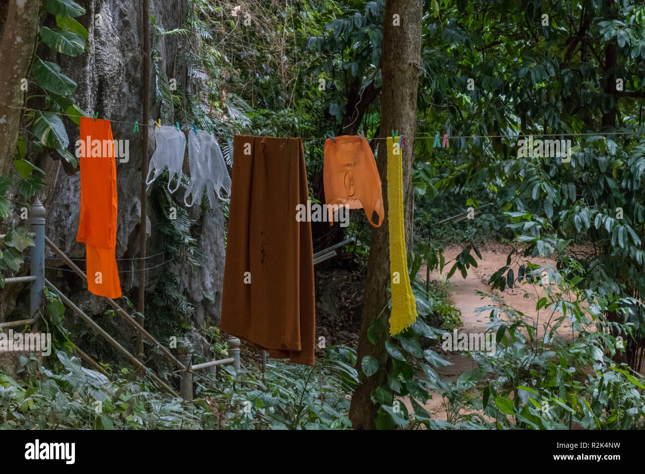 Monks live in the rainforest at Tiger Cave Temple, Wat Tham Sua, Krabi, Thailand, - Stock Image