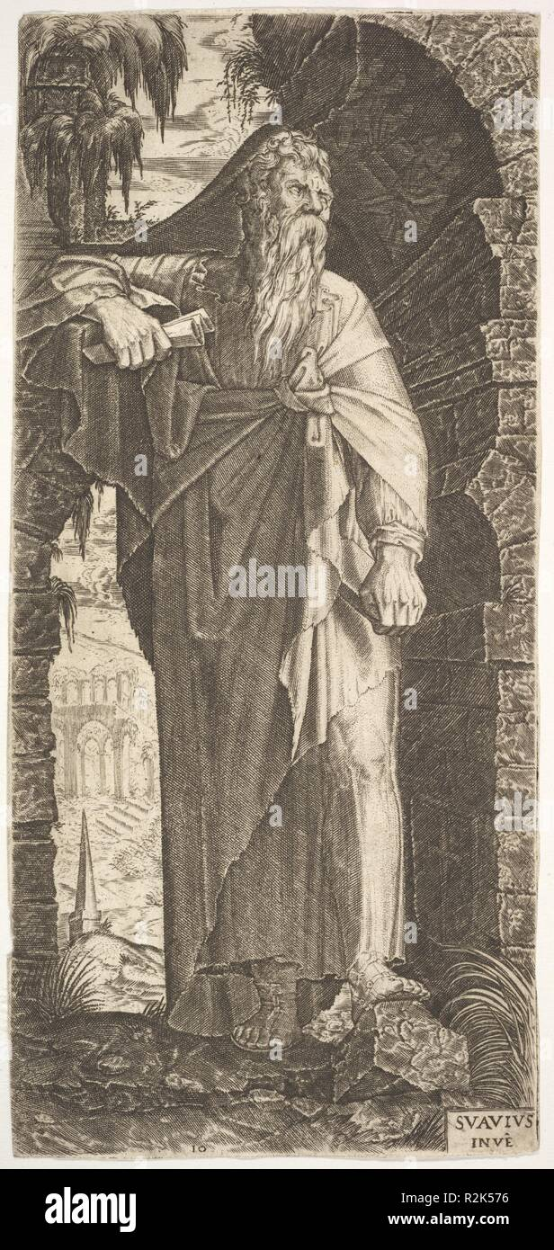 St. Paul standing under an overgrown arch, his left foot poised upon a rock, his right hand grasping a scroll, from a series of full-length figures of Christ and the Twelve Apostles. Artist: Lambert Suavius (Netherlandish, ca. 1510-by 1576). Dimensions: sheet: 7 13/16 x 3 5/8 in. (19.8 x 9.2 cm). Series/Portfolio: Christ and the Twelve Apostles. Date: 1545. Museum: Metropolitan Museum of Art, New York, USA. - Stock Image