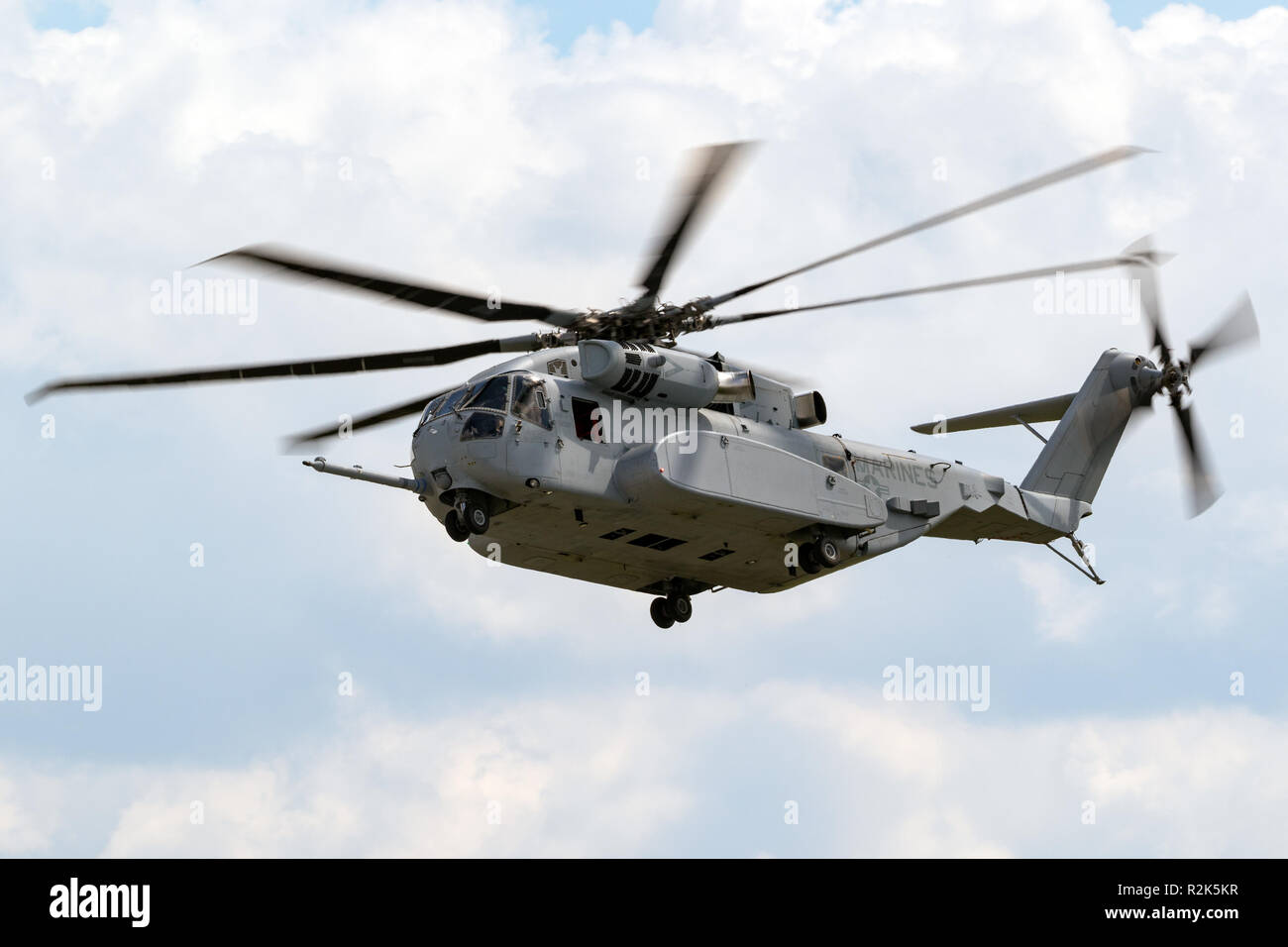 BERLIN - APR 27, 2018: New Sikorsky CH-53K King Stallion heavy-lift helicopter of the US Marines in action at the Berlin ILA Air Show. - Stock Image