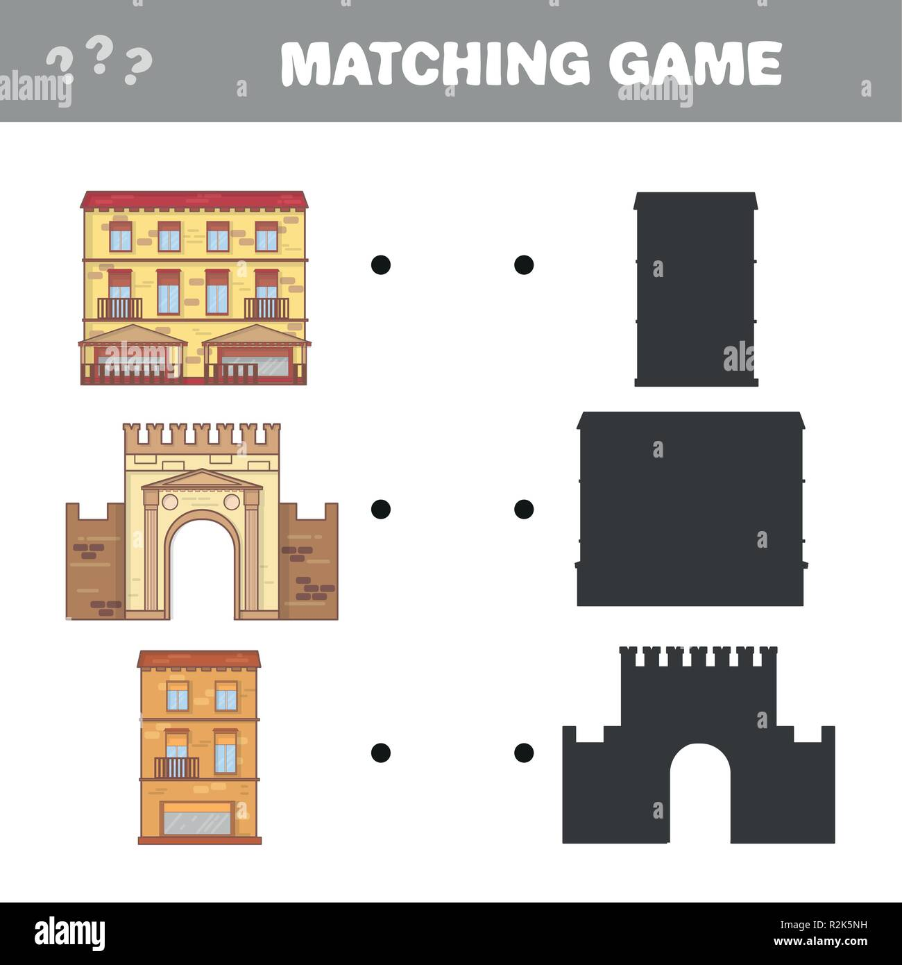 Find the correct shadow. Educational matching game for children. Cartoon vector - Stock Image