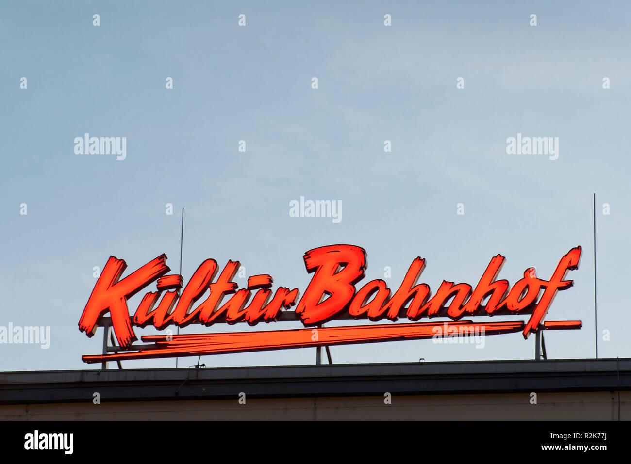 Neon Kulturbahnhof, main station, Kassel, Hesse, Germany - Stock Image