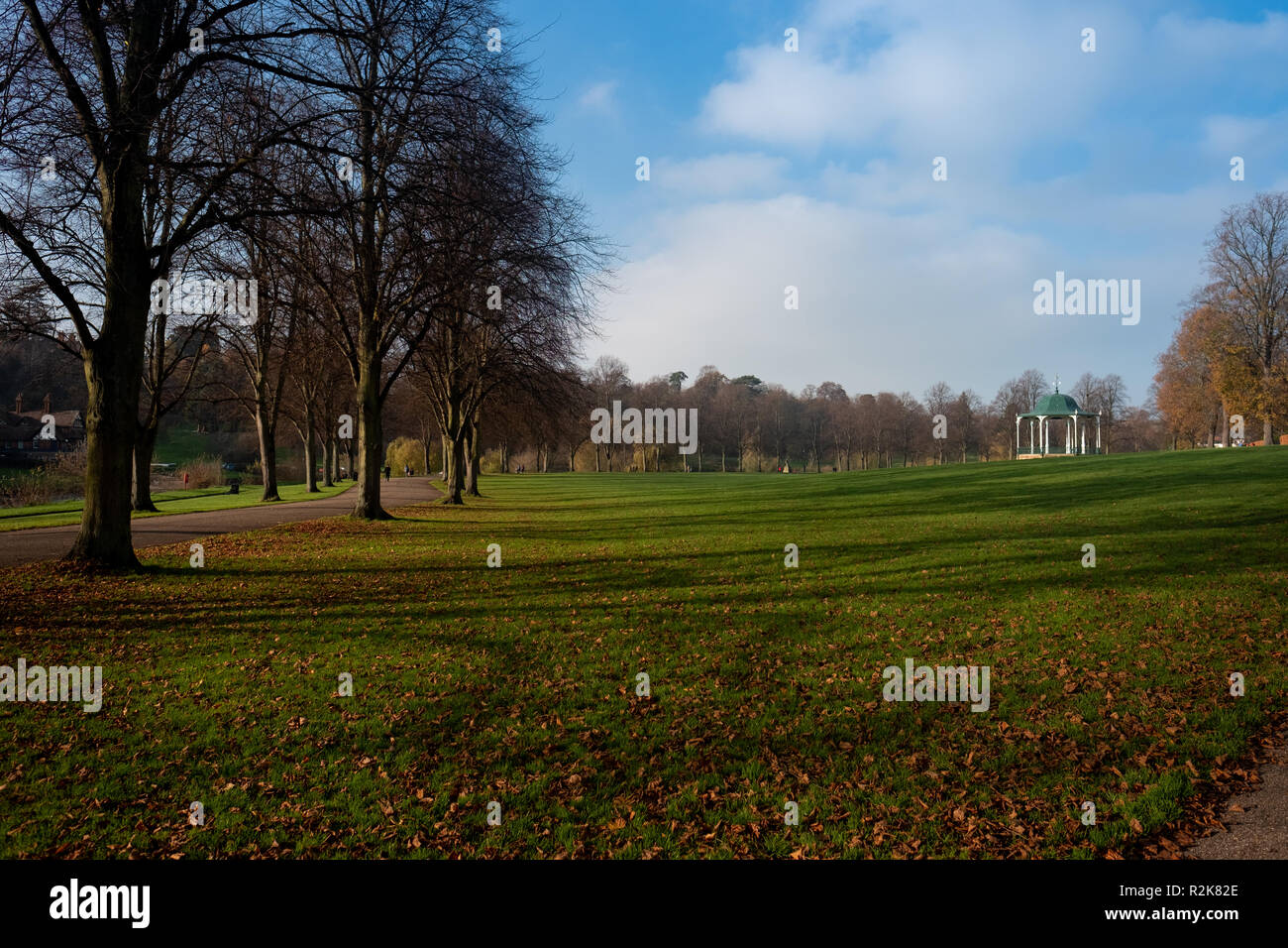 Bandstand in Shrewsbury Park on a sunny late autumn, early winter day. - Stock Image
