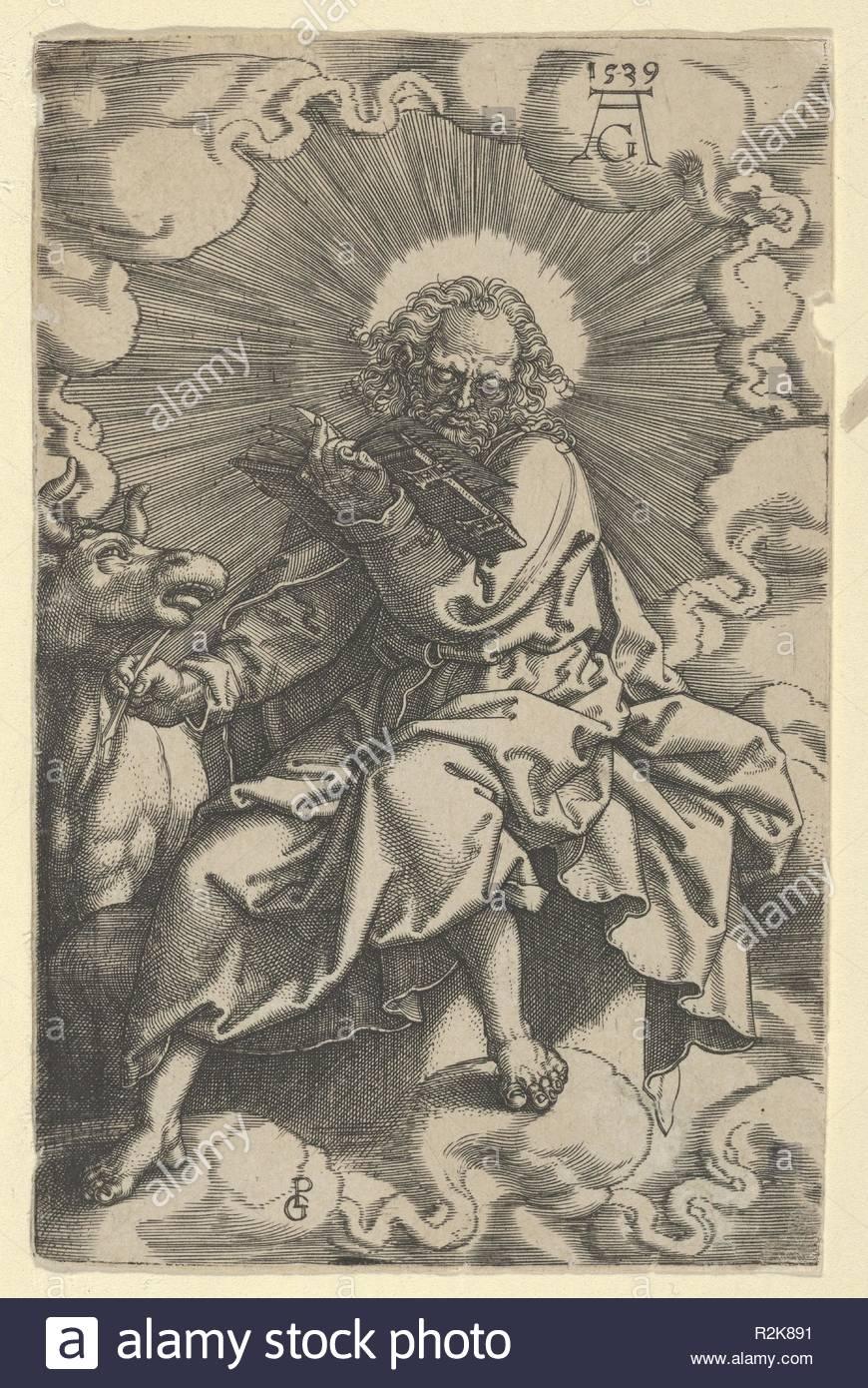 Saint Luke, from The Four Evangelists. Artist: Heinrich Aldegrever (German, Paderborn ca. 1502-1555/1561 Soest); after Georg Pencz (German, Wroclaw ca. 1500-1550 Leipzig). Dimensions: Sheet: 4 5/8 × 3 in. (11.8 × 7.6 cm). Date: 1539. Museum: Metropolitan Museum of Art, New York, USA. - Stock Image