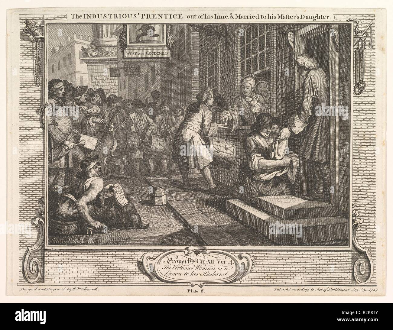 The Industrious 'Prentice Out of his Time and Married to his Master's Daughter (Industry and Idleness, plate 6). Artist: William Hogarth (British, London 1697-1764 London). Dimensions: plate: 10 3/8 x 13 9/16 in. (26.4 x 34.4 cm)  sheet: 10 9/16 x 13 7/8 in. (26.8 x 35.2 cm). Date: September 30, 1747. Museum: Metropolitan Museum of Art, New York, USA. Stock Photo