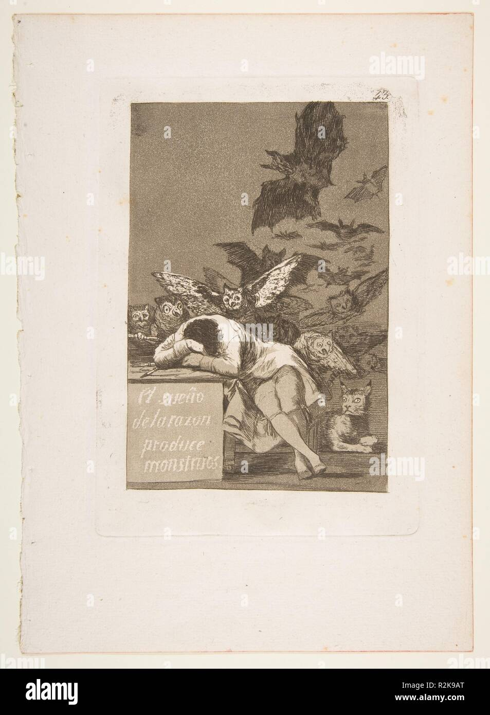Plate 43 from 'Los Caprichos': The sleep of reason produces monsters (El sueño de la razon produce monstruos). Artist: Goya (Francisco de Goya y Lucientes) (Spanish, Fuendetodos 1746-1828 Bordeaux). Dimensions: Plate: 8 3/8 x 5 15/16 in. (21.2 x 15.1 cm)  Sheet: 11 5/8 x 8 1/4 in. (29.5 x 21 cm). Series/Portfolio: Los Caprichos. Date: 1799.  This is the best known image from Goya's series of 80 aquatint etchings published in 1799 known as 'Los Caprichos' that are generally understood as the artist's criticism of the society in which he lived. Goya worked on the series from around 1796-98 and m Stock Photo