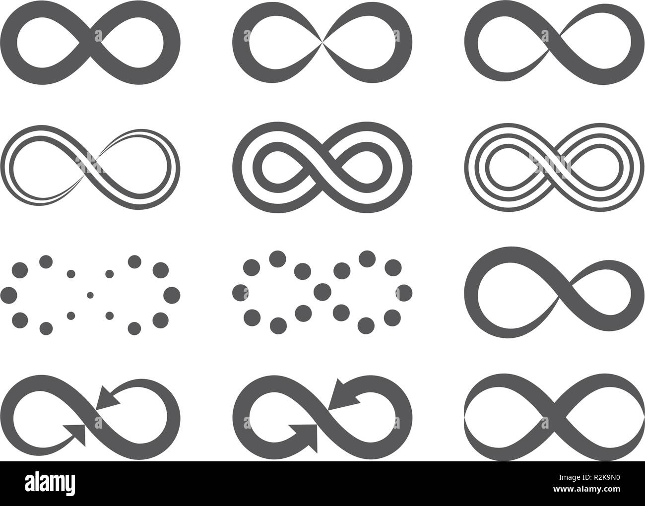 Black infinity symbols. Repetition icons and signs illustration on white background. - Stock Image
