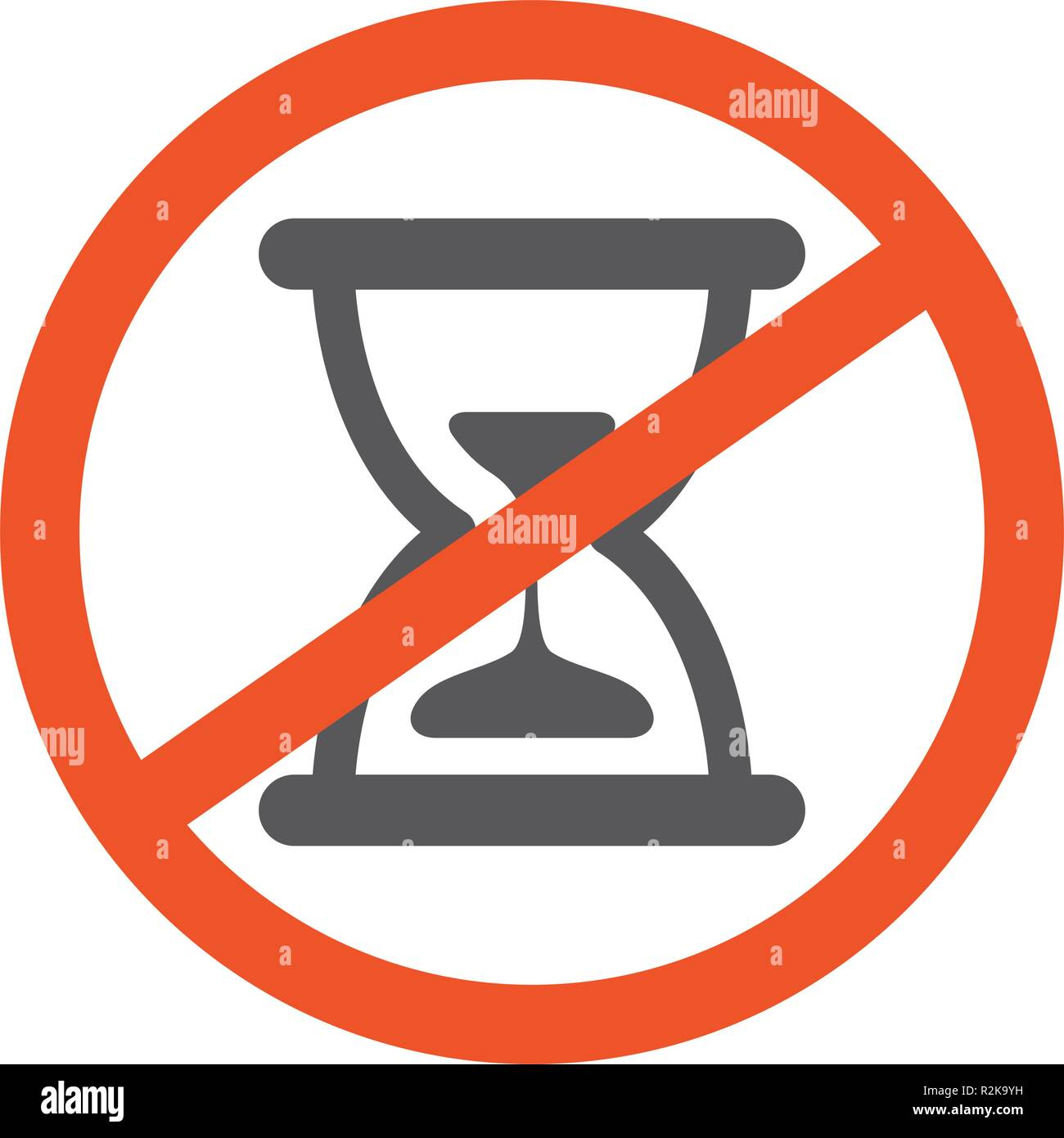 No Hourglass symbol design illustration  Forbidden sign with