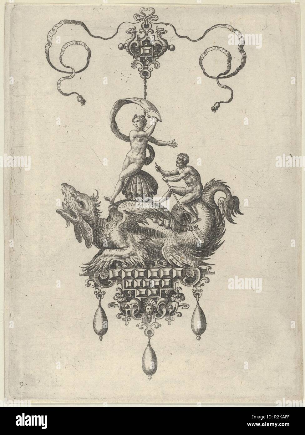 Pendant Design with a Winged Sea Monster Carrying Venus Anadyomene on a Shell and a Man with an Oar. Artist: Adriaen Collaert (Netherlandish, Antwerp ca. 1560-1618 Antwerp); after a design by Jan Collaert I (Netherlandish, Antwerp ca. 1530-1581 Antwerp). Dimensions: Sheet: 6 15/16 × 5 3/16 in. (17.7 × 13.2 cm). Publisher: published by Philips Galle (Netherlandish, Haarlem 1537-1612 Antwerp) , in Antwerp. Series/Portfolio: Designs for Pendants II. Date: 1582.  Vertical panel with a pendant in the shape of a sea monster carrying Neptune, who is seated on a shell and holds a sail in her right han - Stock Image