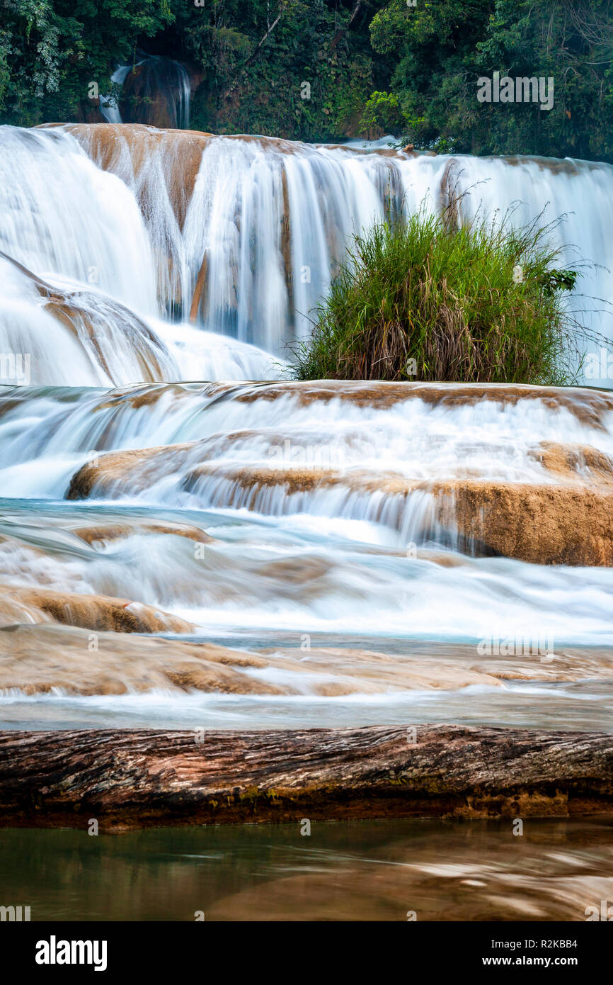 Detail of a waterfalls at Agua Azul, Chiapas, Mexico. - Stock Image
