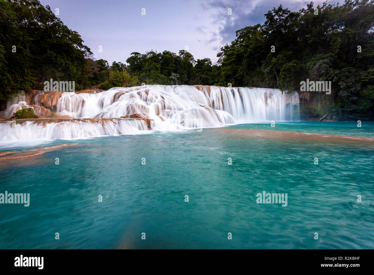 Turquoise pool of water under one of the many falls at Agua Azul, Chiapas, Mexico. - Stock Image