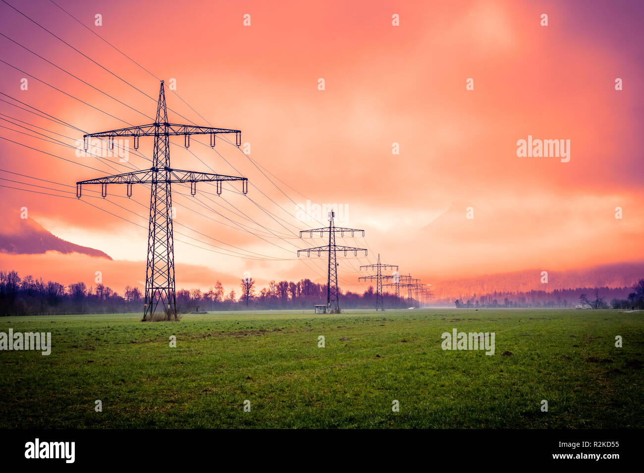 power lines, electricity, energy crisis - Stock Image