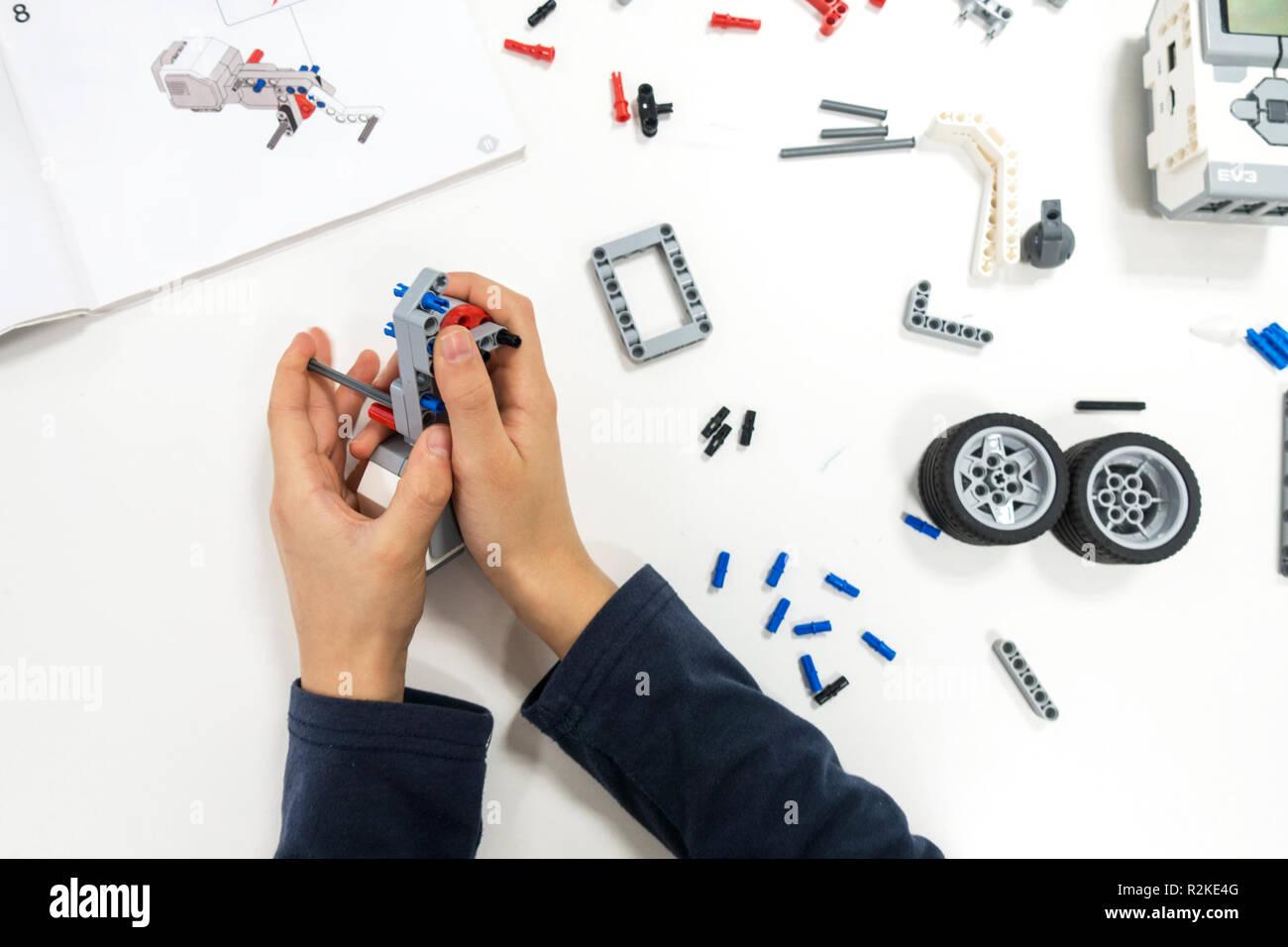 Lego Education Stock Photos Images Alamy Electronic Ear For Rcx Module Vilnius Lithuania November 16 2018 Kid Making Robot Mindstorms Robotic