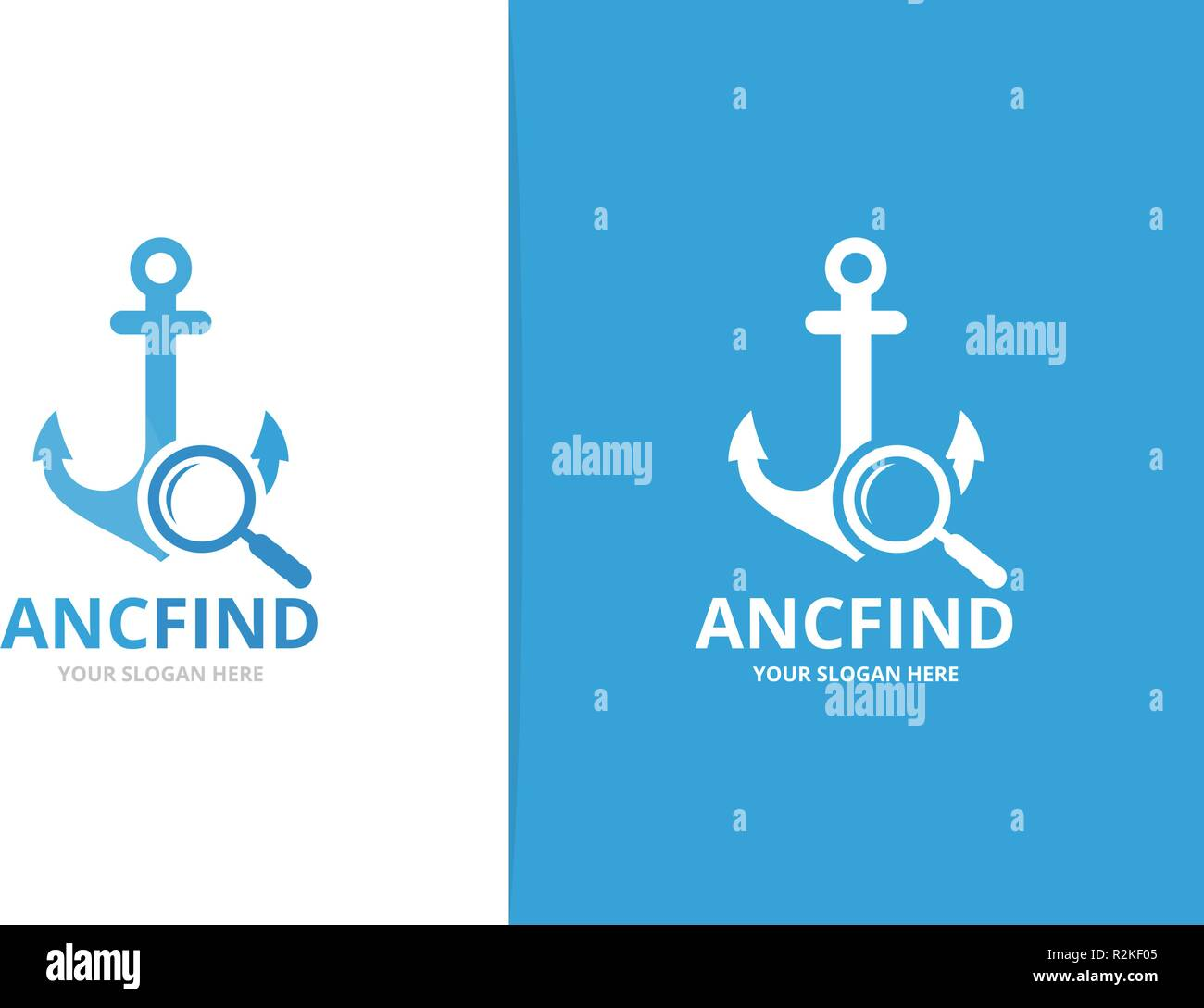 Vector anchor and loupe logo combination. Marine and magnifying symbol or icon. Unique navy and search logotype design template. - Stock Image