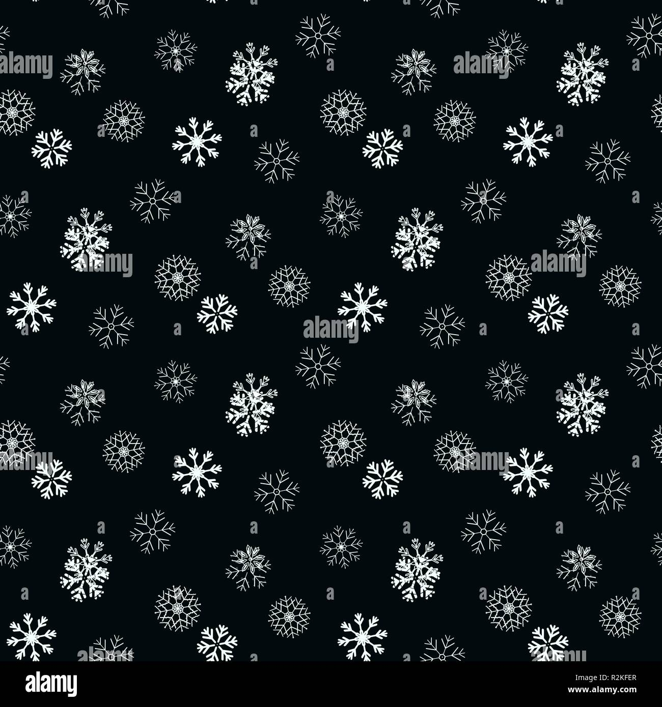 white Snowflake on black simple seamless pattern. Abstract