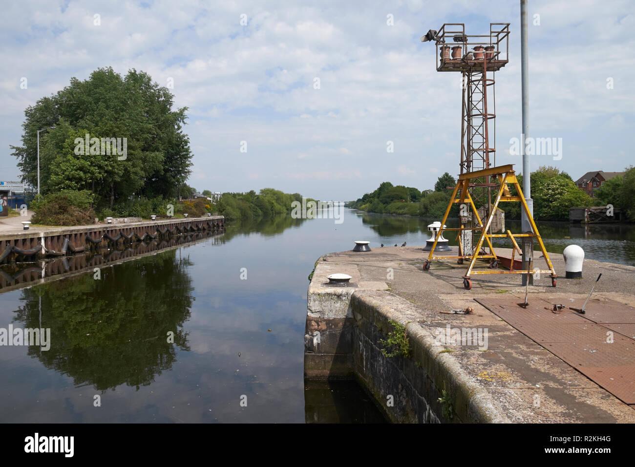 The Manchester Ship Canal at Latchford Locks, Warrington, Cheshire, UK. Stock Photo