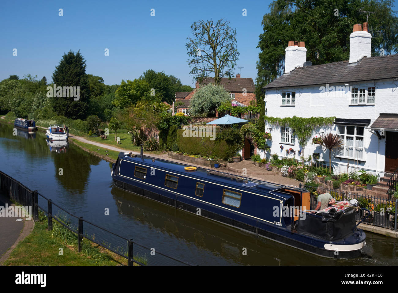 A narrowboat on the Bridgewater Canal at Lymm, Cheshire, UK. - Stock Image
