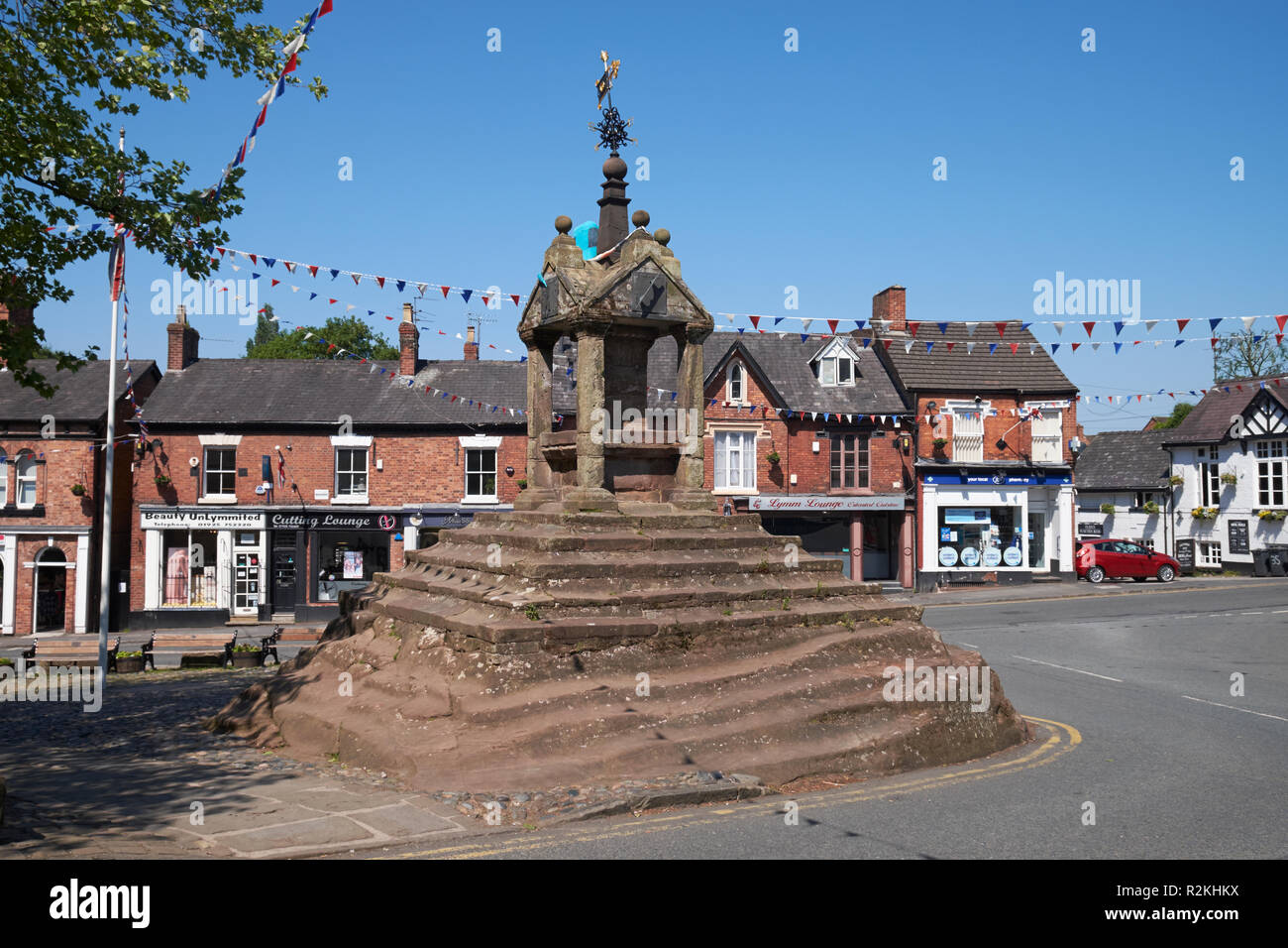 Lymm Cross in the centre of Lymm, Cheshire, UK. - Stock Image