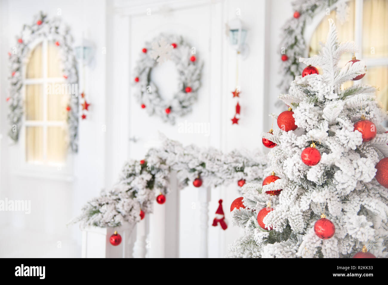 Merry Christmas Happy New Year Greeting Card White House Decorated