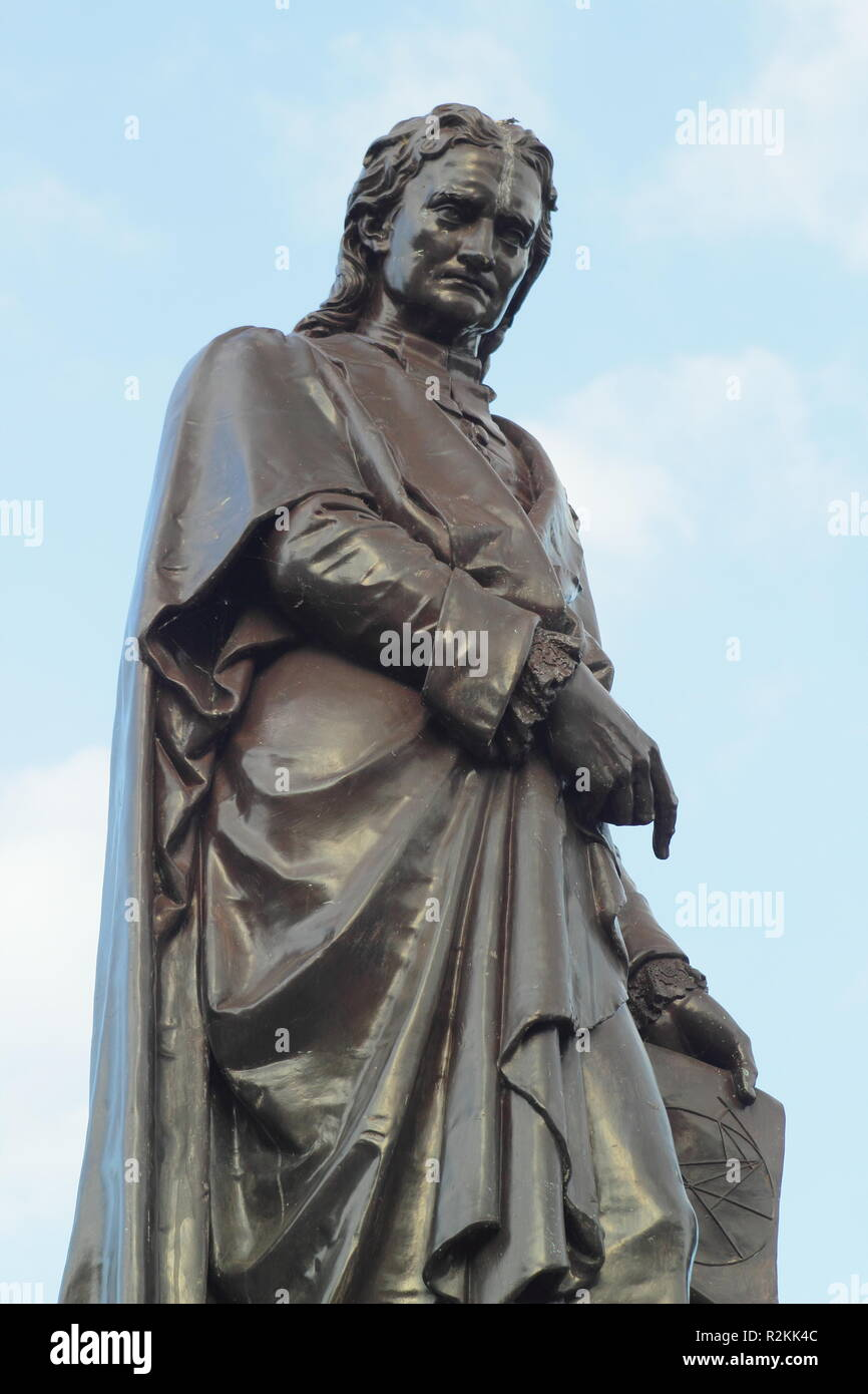 Statue of physicist, Sir Isaac Newton in Grantham town centre, Lincolnshire,England, UK - Stock Image