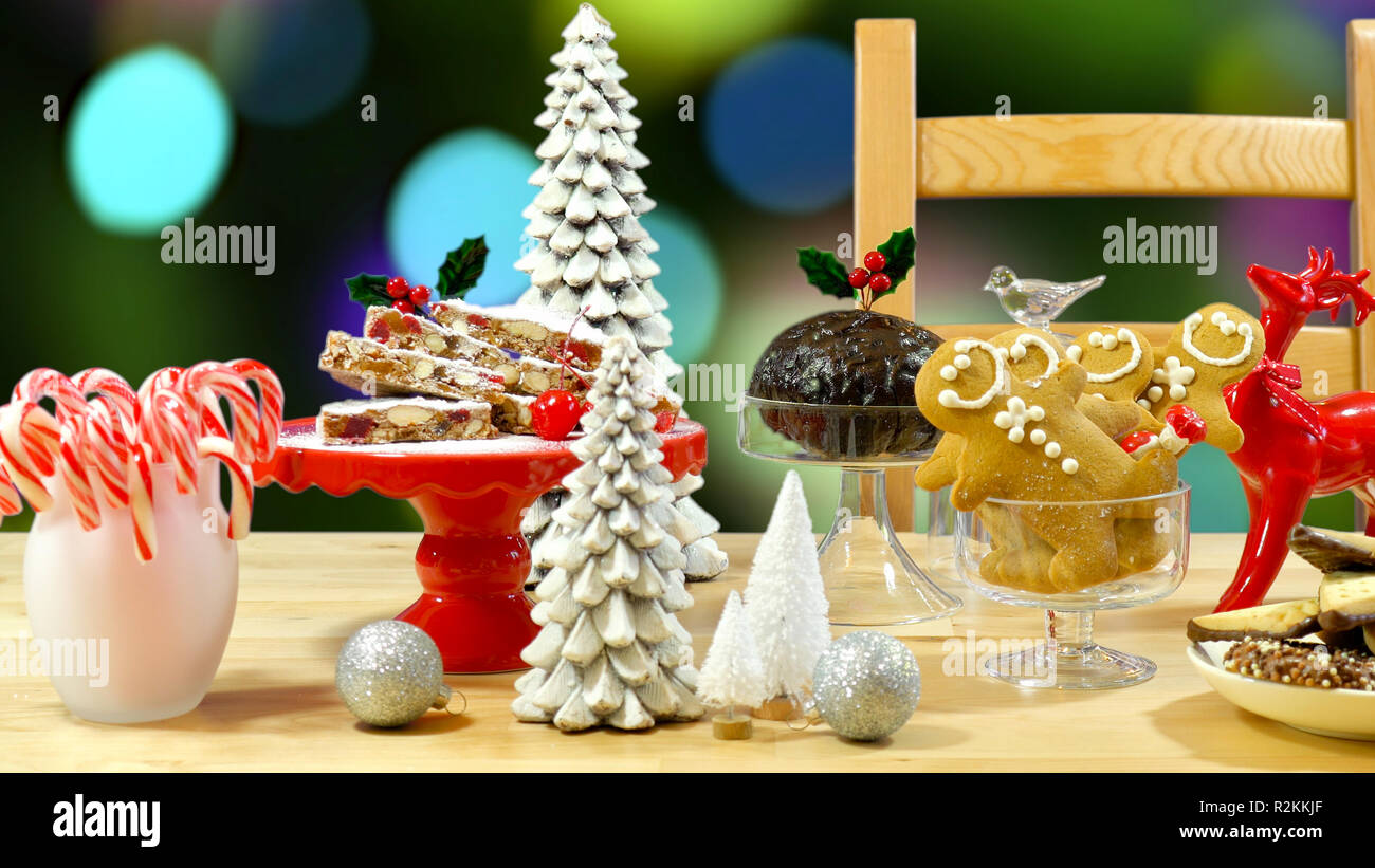 Festive Table With Traditional English And European Style Christmas