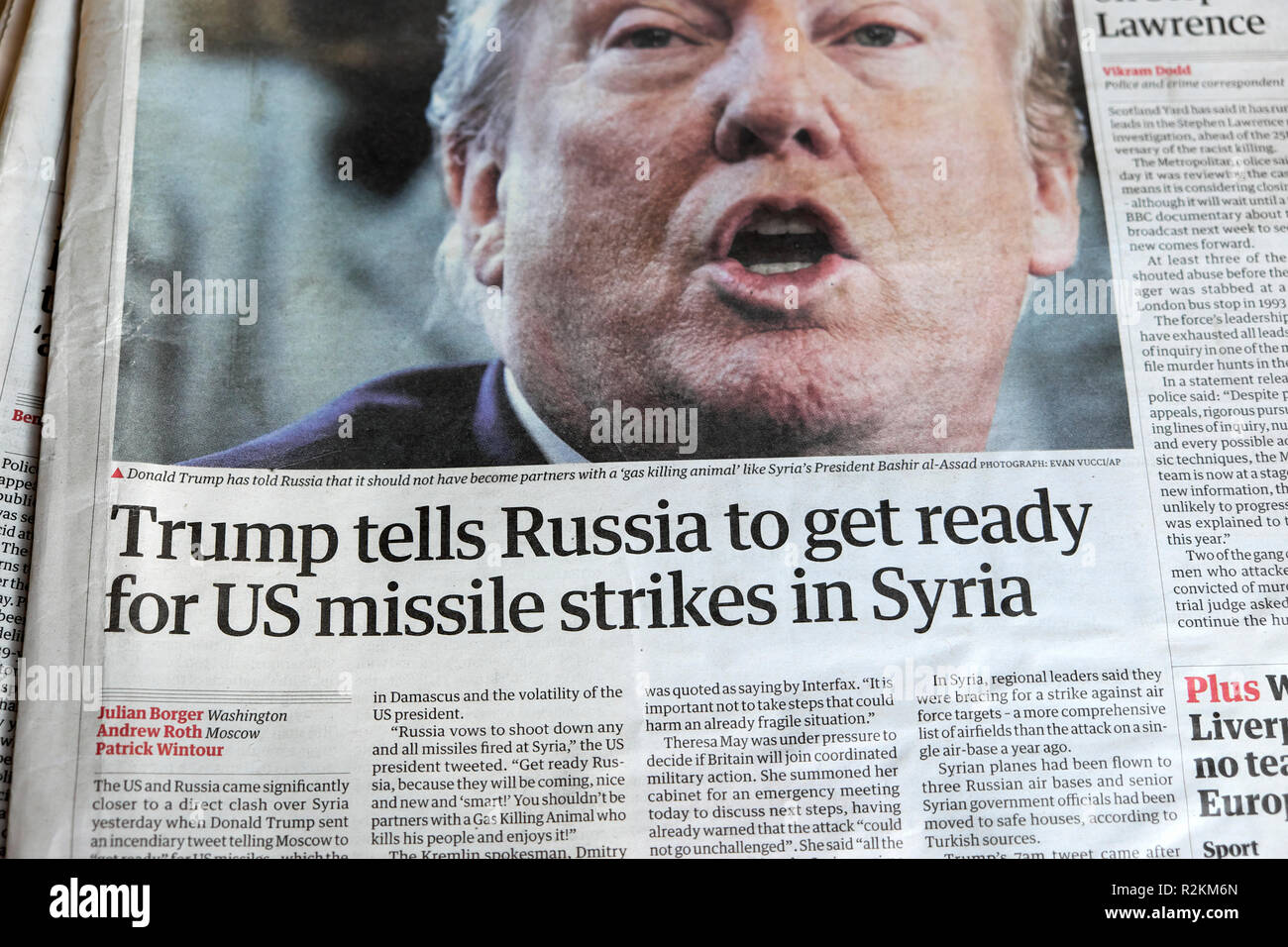 'Trump tells Russia to get ready for US missile strikes in Syria' Guardian newspaper article headline in London UK  12 April 2018 - Stock Image
