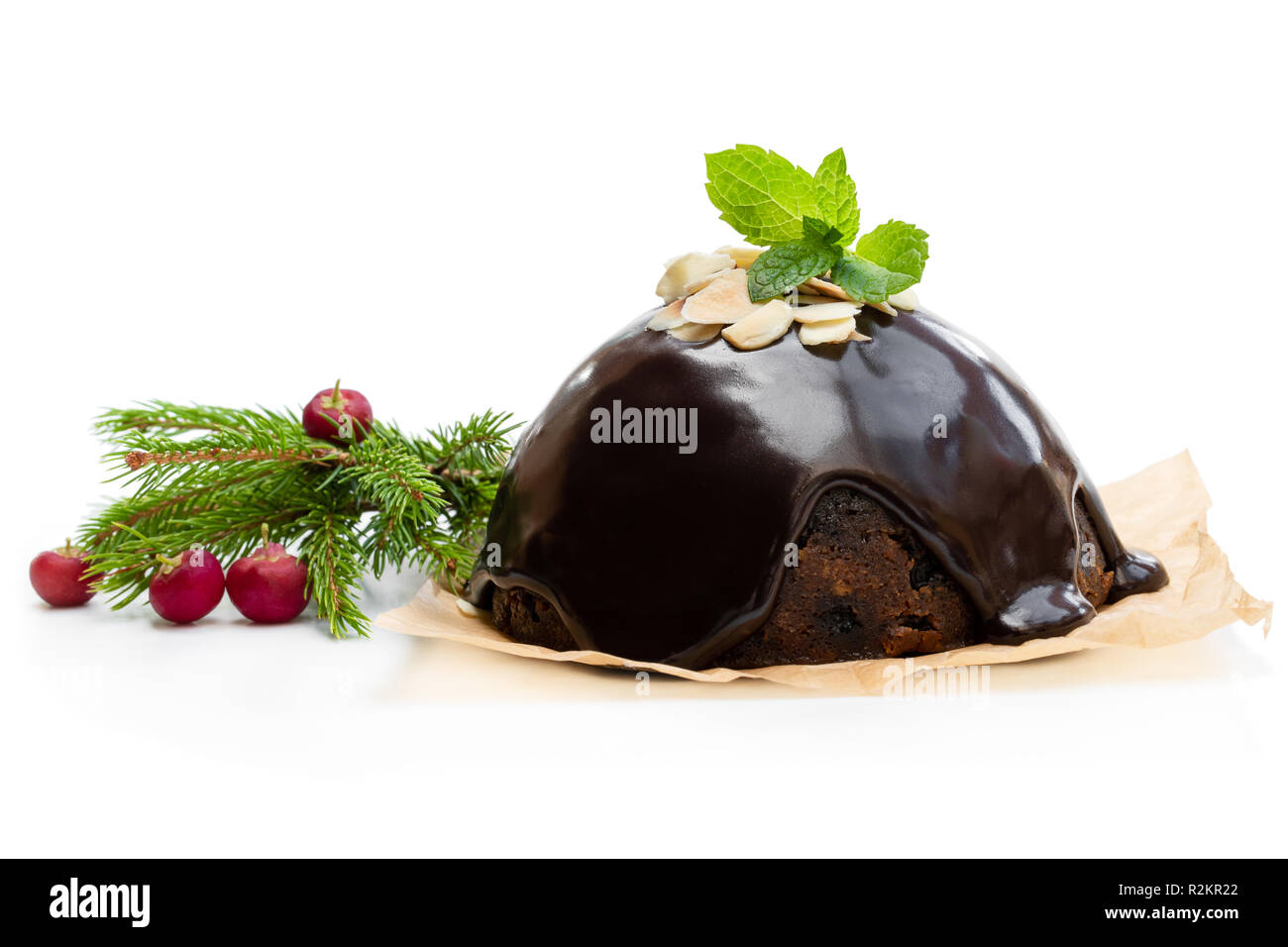 Homemade  Christmas pudding isolated on white - Stock Image
