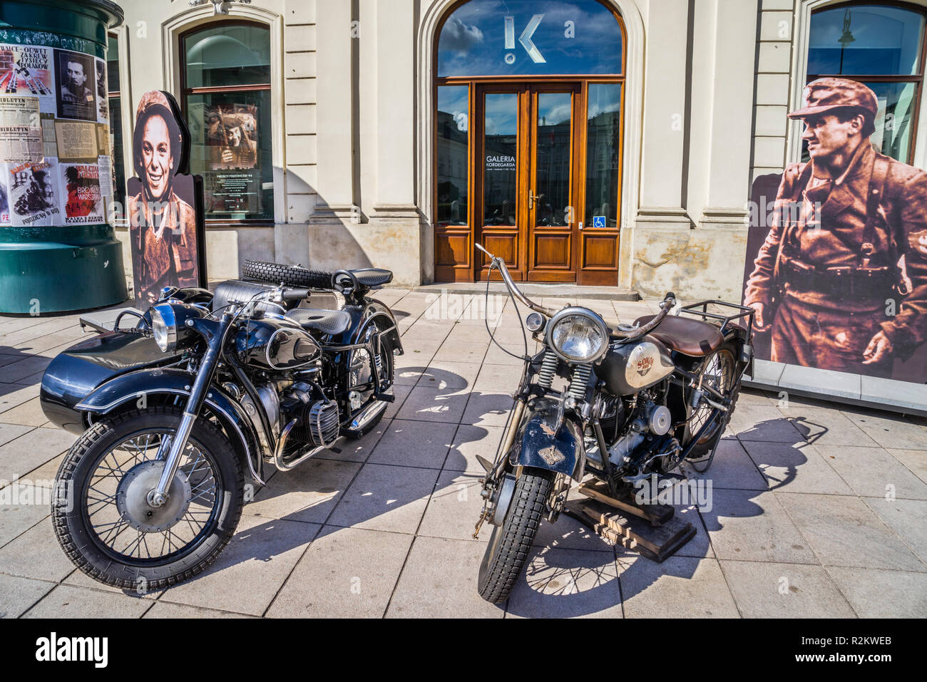 streets of Warsaw '44 historical exhibition of period paraphernalia duing the Warsaw Uprising, vintage BMW and Sokół 1000 motorcycles at the Potocki P - Stock Image