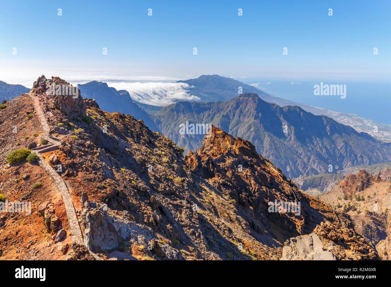 Caldera de Taburiente Natoional Park seen from Roque de los Muchachos Viewpoint, La Palma, Canary Islands - Stock Image