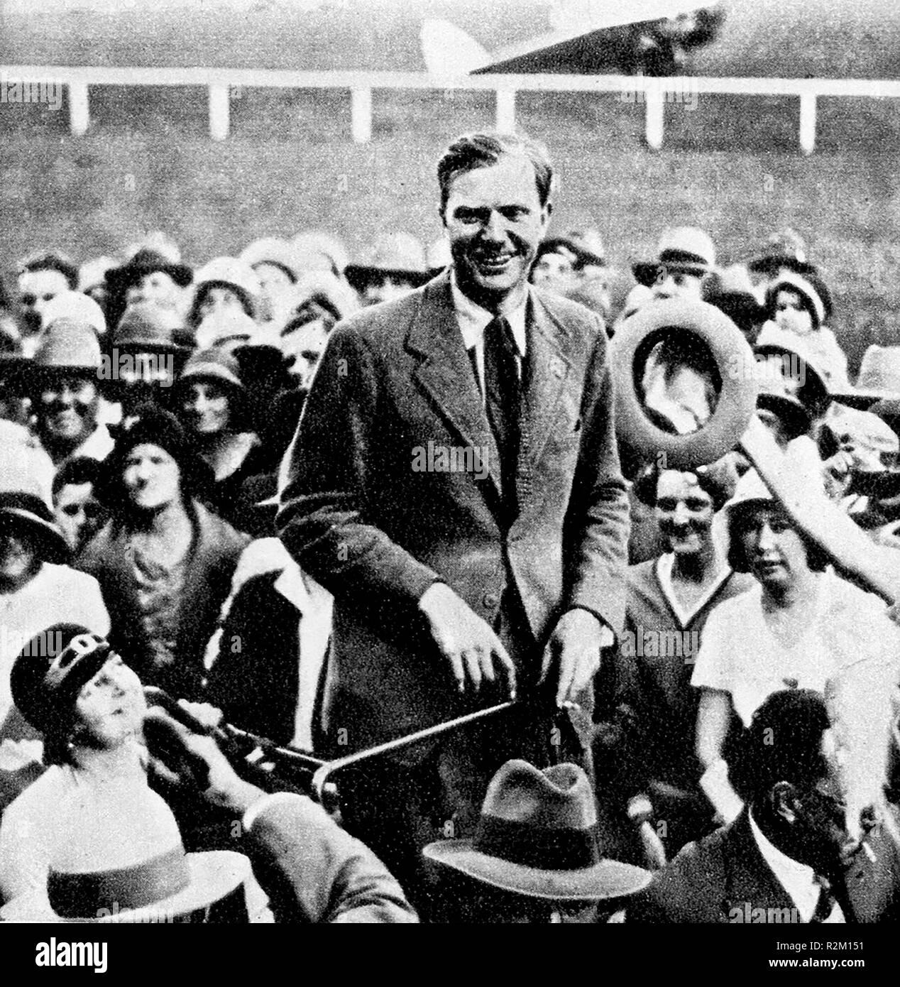 October 1934 Mildenhall England to Australia air race - Winner  C.W.A. Scott (2 days,22 hrs, 55 mins) - Stock Image