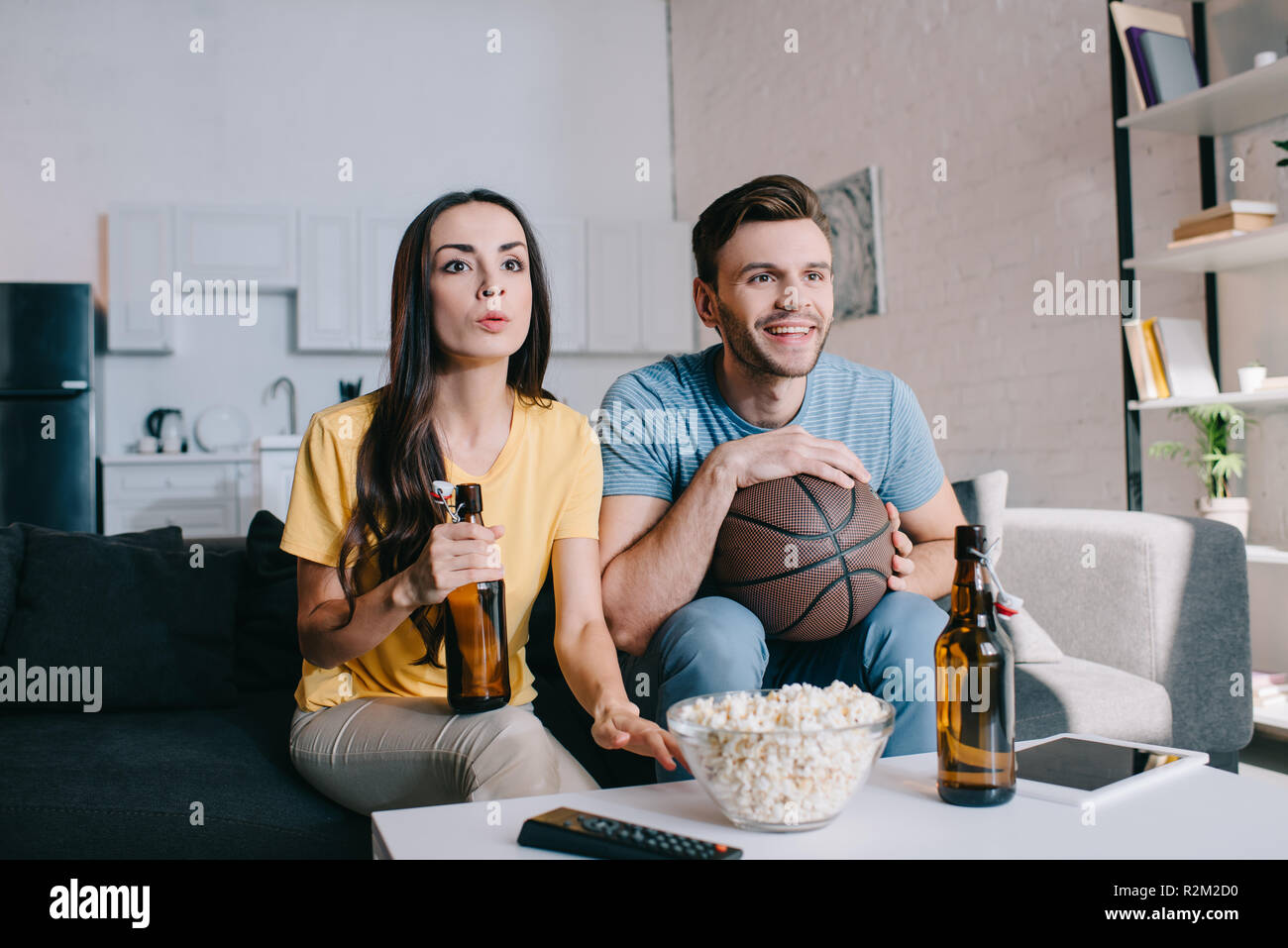 Young Couple Football Beer Snack High Resolution Stock Photography And Images Alamy