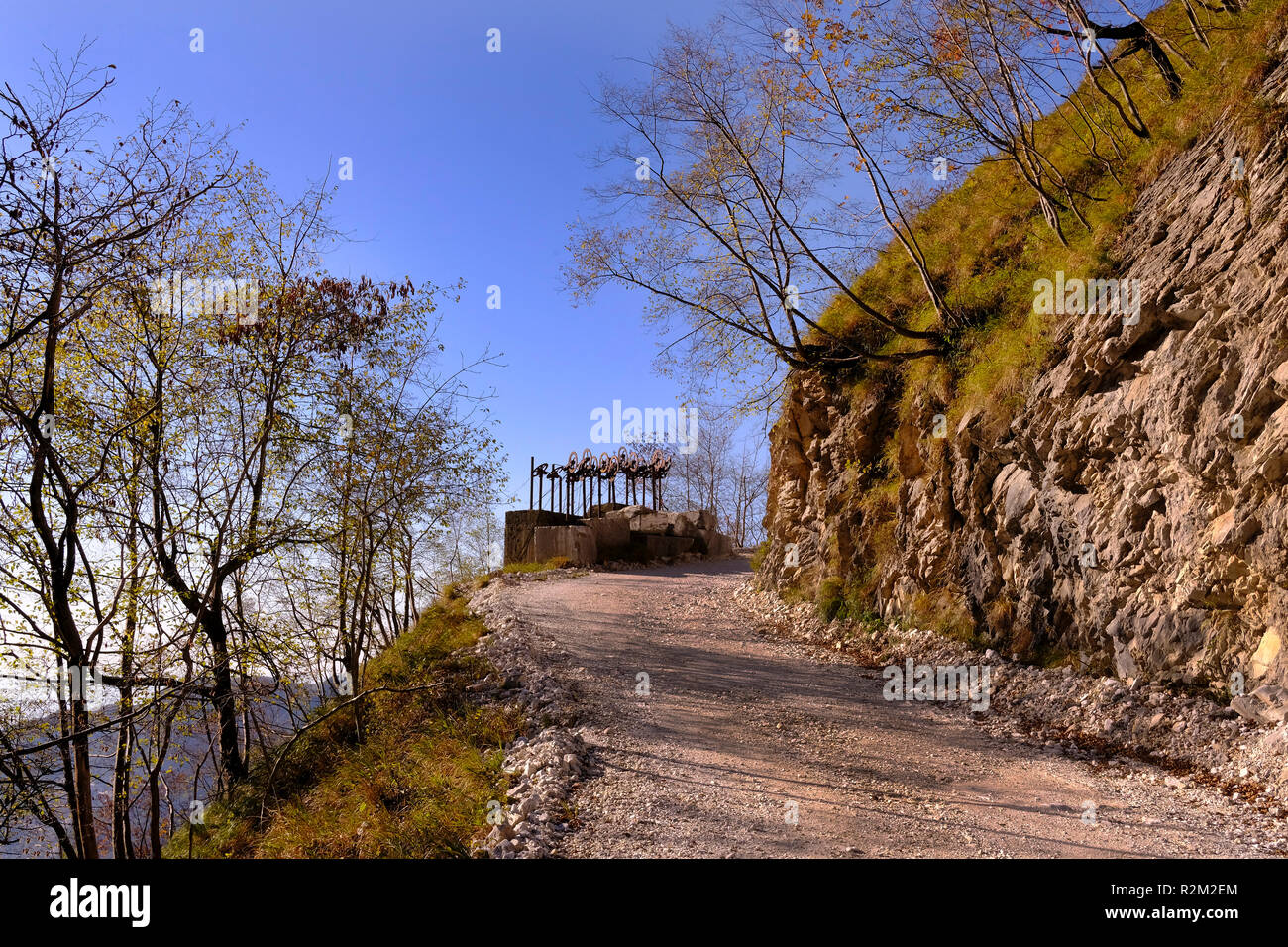 Unplugged: exploring nature, hiking on Tuscany mountains, breathtaking panorama (Italy). Stock Photo