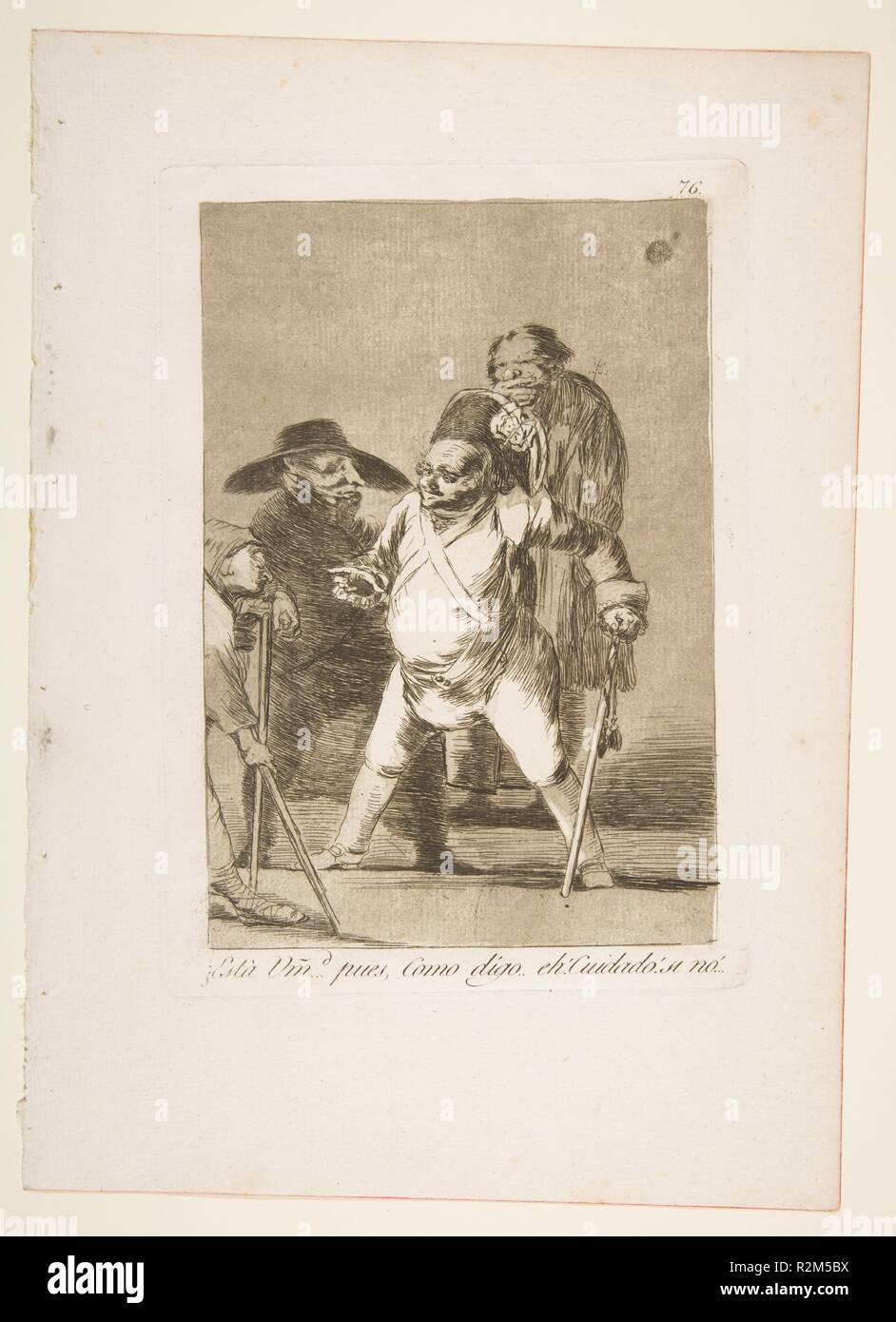 Plate 76 from 'Los Caprichos':You understand?... well, as I say... eh!  Look out! otherwise... (¿Està Umd...pues, Como digo..eh!  Cuidado! si no...). Artist: Goya (Francisco de Goya y Lucientes) (Spanish, Fuendetodos 1746-1828 Bordeaux). Dimensions: Plate: 8 3/8 x 5 7/8 in. (21.2 x 15 cm)  Sheet: 11 5/8 x 8 1/4 in. (29.5 x 21 cm). Series/Portfolio: Los Caprichos. Date: 1799. Museum: Metropolitan Museum of Art, New York, USA. - Stock Image